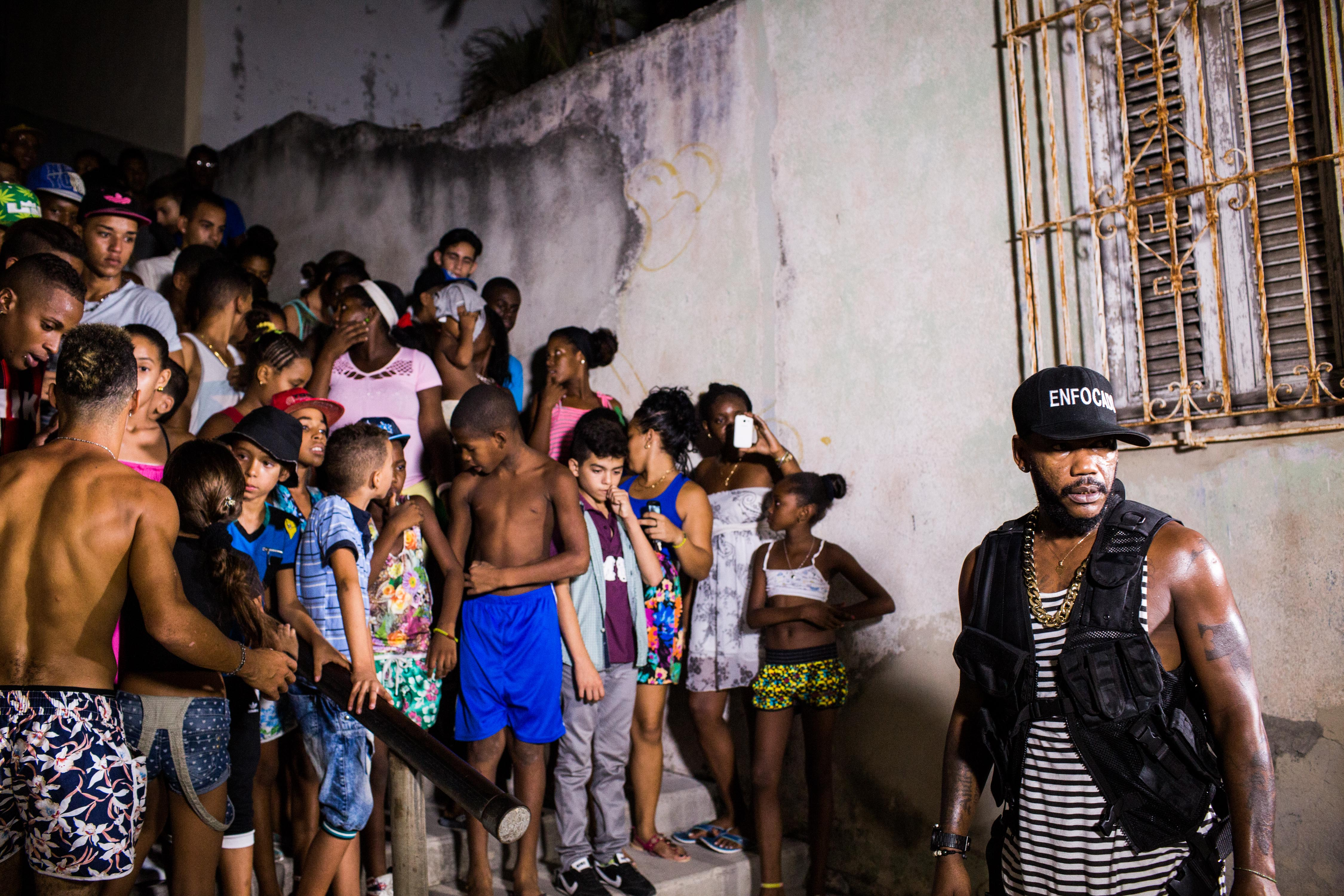 Local kids join Damian from Los Desiguales on a video shoot in the Lawton neighborhood in Havana on Sept. 11, 2015. This song,  Infelices,  is heavily hip-hop based.