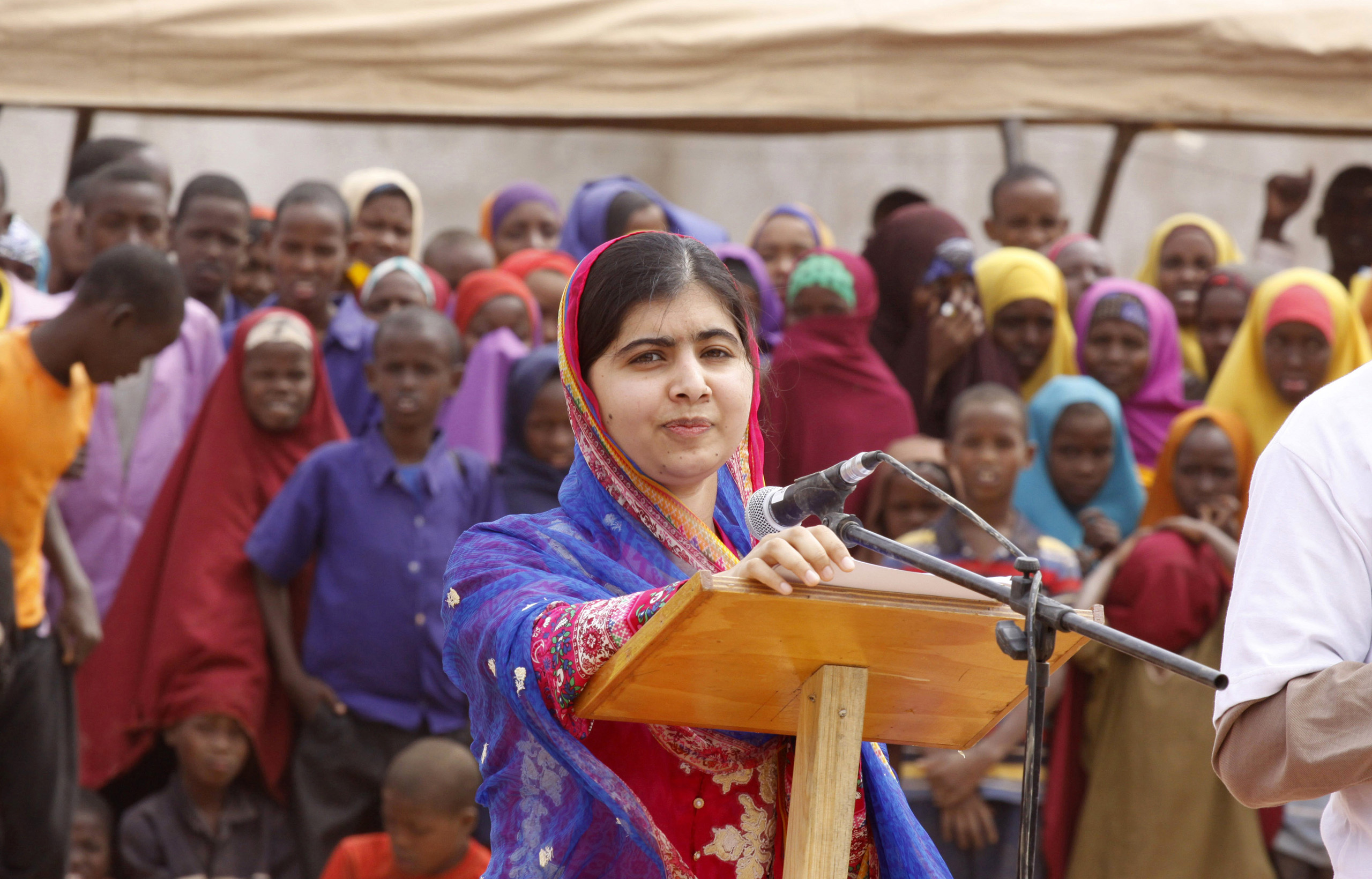 Malala Yousafza, speaks to refugees in the Dadaab refugee camp, Kenya, on July 12, 2016.
