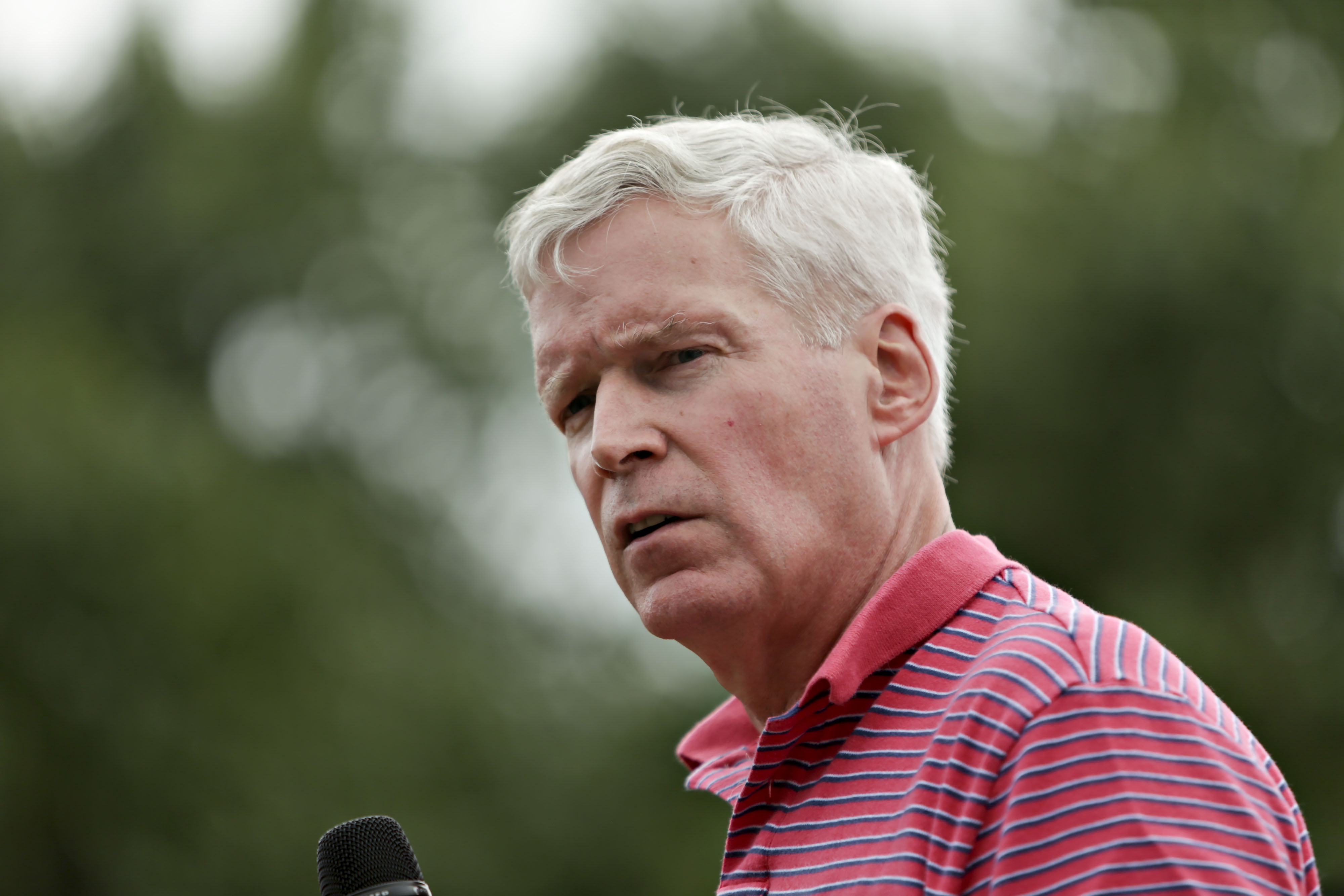 Mark Everson, former commissioner of the U.S. Internal Revenue Service and 2016 Republican presidential candidate, speaks at the Iowa State Fair Soapbox in Des Moines, Iowa, U.S., on Saturday, Aug. 22, 2015.