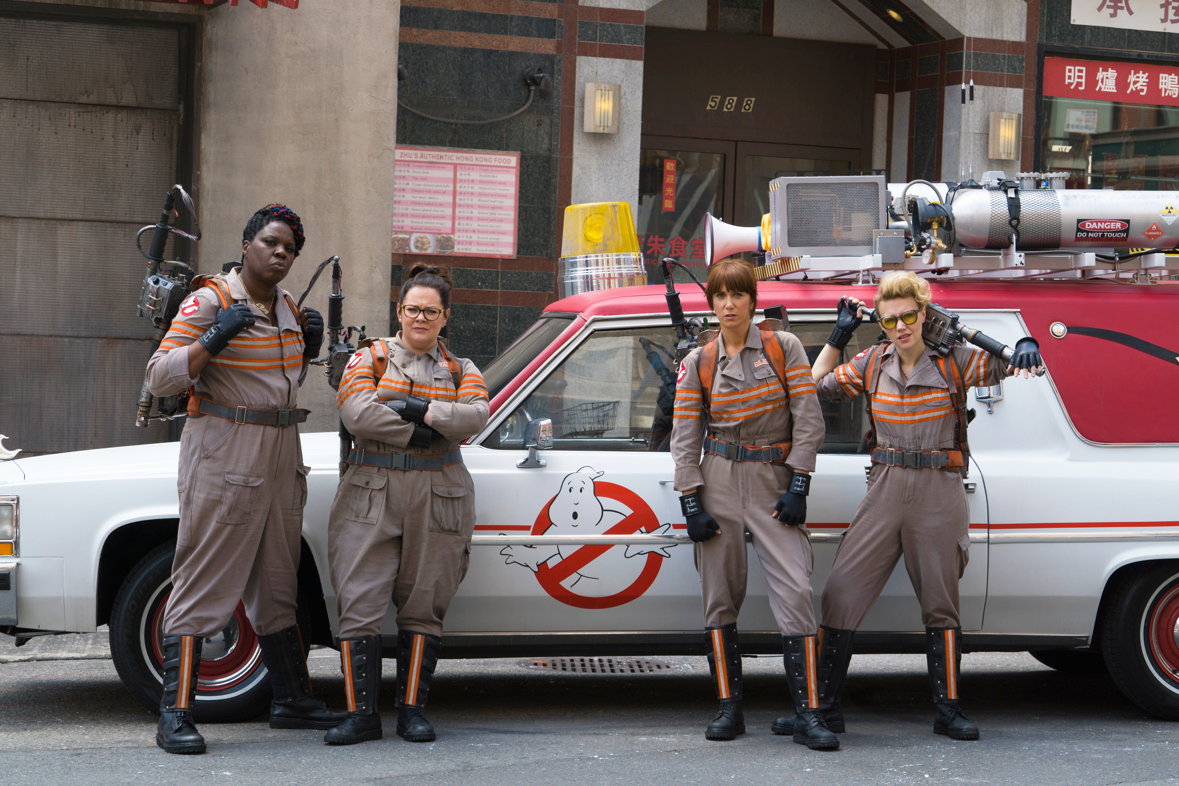 Melissa McCarthy, second from left, as Abby Yates in Ghostbusters, 2016.