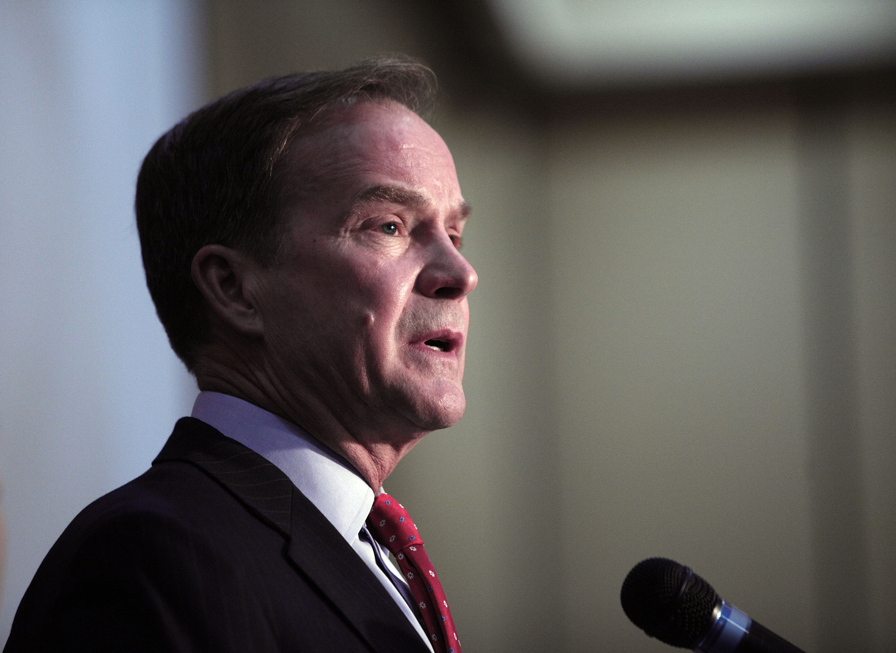 Michigan Attorney General Bill Schuette announces that he filed 13 felony charges and 5 misdemeanor charges against two state officials and one city official as a result of their actions in  Flint's lead water contamination crises April 20, 2016 in Flint, Michigan.