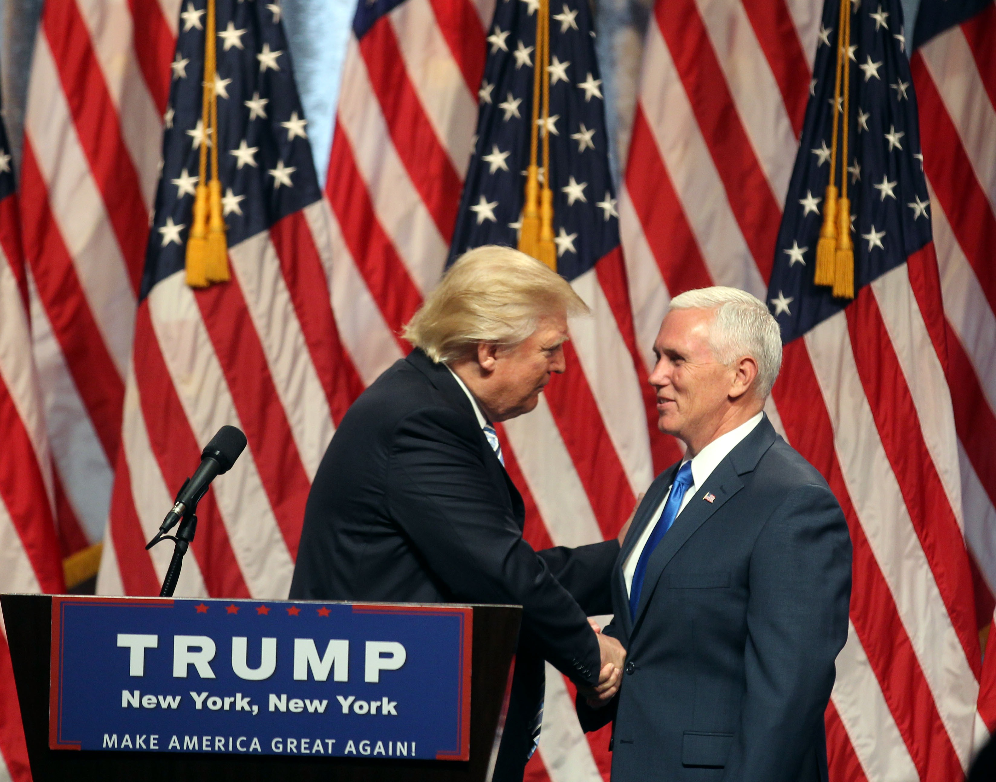 Donald Trump introduces Indiana Gov. Mike Pence as his vice presidential running mate at a press conference at the Hilton Hotel on July 16, 2016 in New York City.