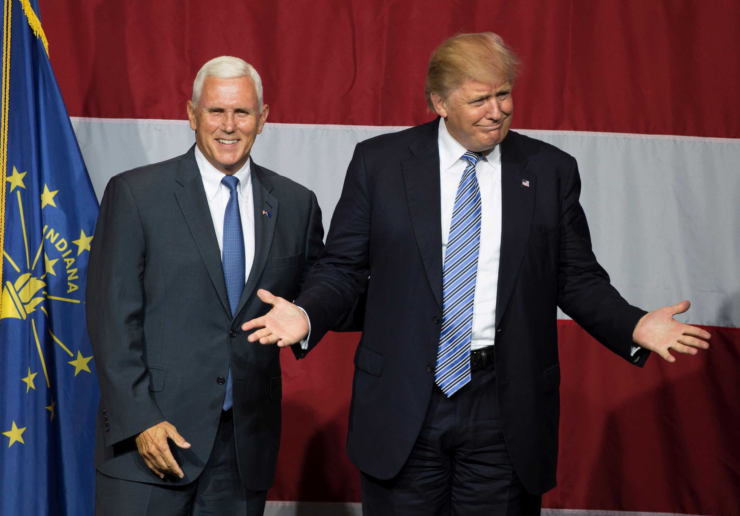 Republican presidential candidate Donald Trump and Indiana Governor Mike Pence taking the stage during a campaign rally at Grant Park Event Center in Westfield, Ind. on July 12, 2016.