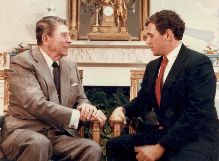 Rep. Mike Pence in the Blue Room meeting former President Ronald Reagan in Aug. 1988.