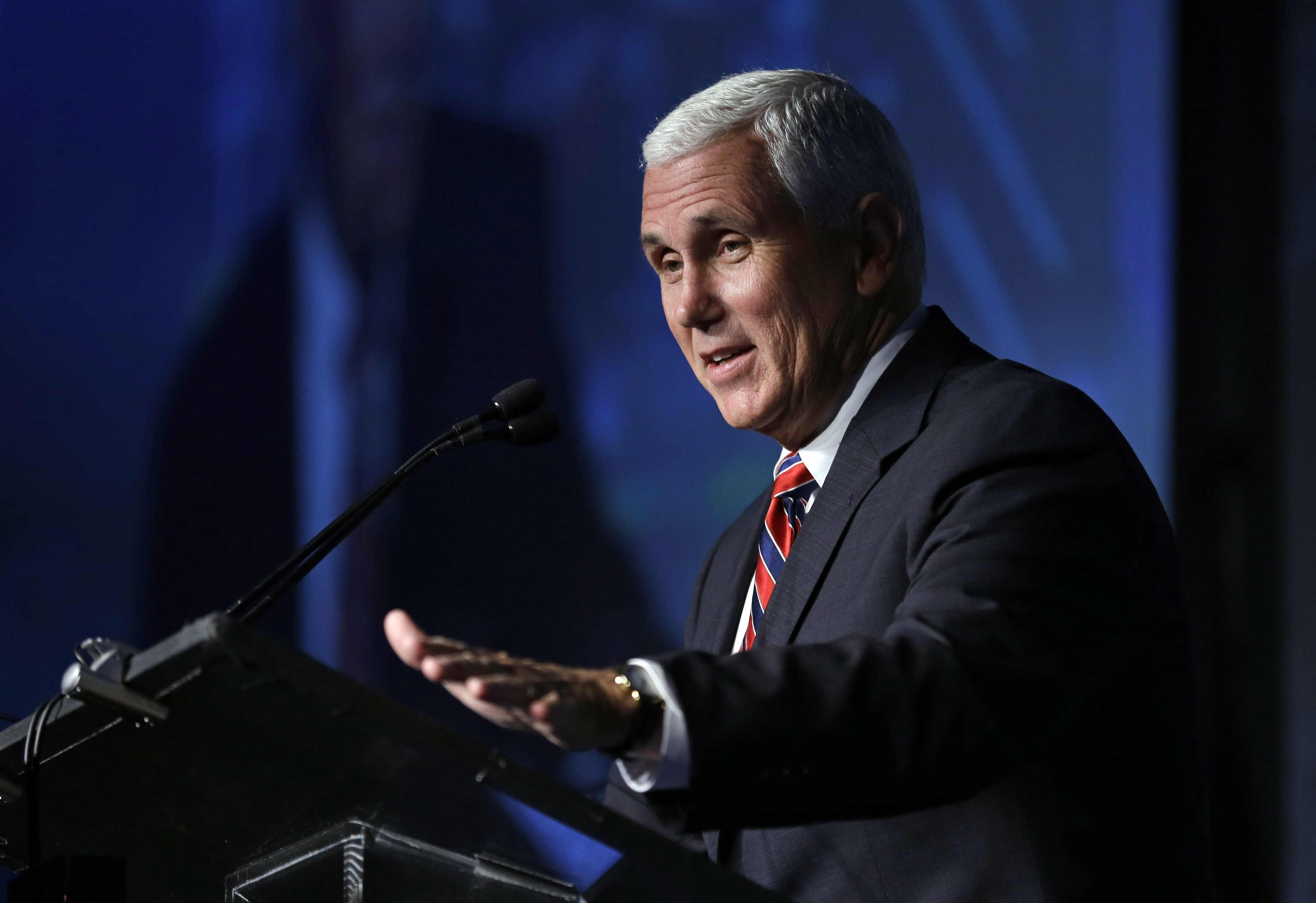 Republican vice presidential candidate, Indiana Gov. Mike Pence speaks at the American Legislative Exchange Council annual meeting in Indianapolis, July 29, 2016.