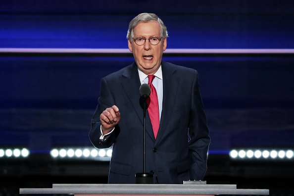 Senate Majority Leader Mitch McConnell (R-KY) delivers a speech on the second day of the Republican National Convention on July 19, 2016 at the Quicken Loans Arena in Cleveland, Ohio.