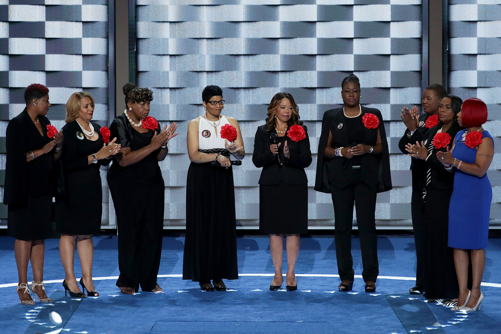 Mothers of the Movement stand onstage prior to delivering remarks on the second day of the Democratic National Convention, on July 26, 2016 in Philadelphia.
