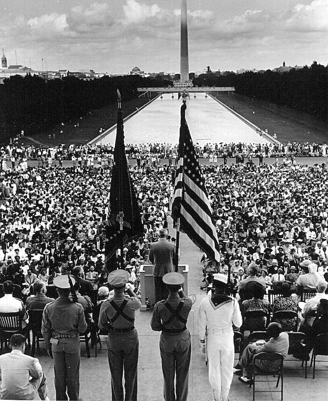 President Harry Truman addresses the NAACP convention June 29, 1947, in front of the Lincoln Memorial in Washington.