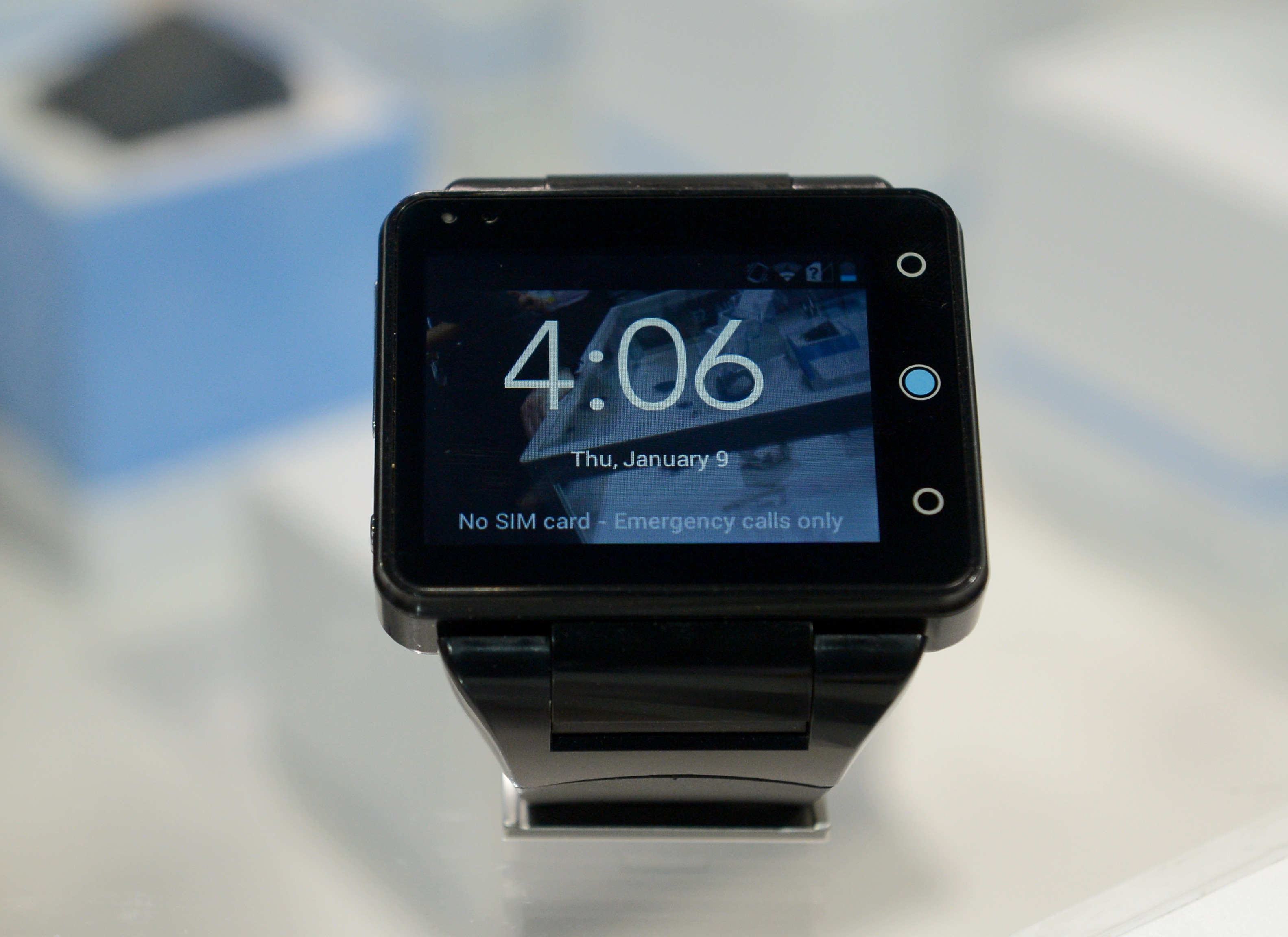 A Neptune Pine smartwatch at the Consumer Electronics Show (CES) in Las Vegas on Jan 9, 2014.