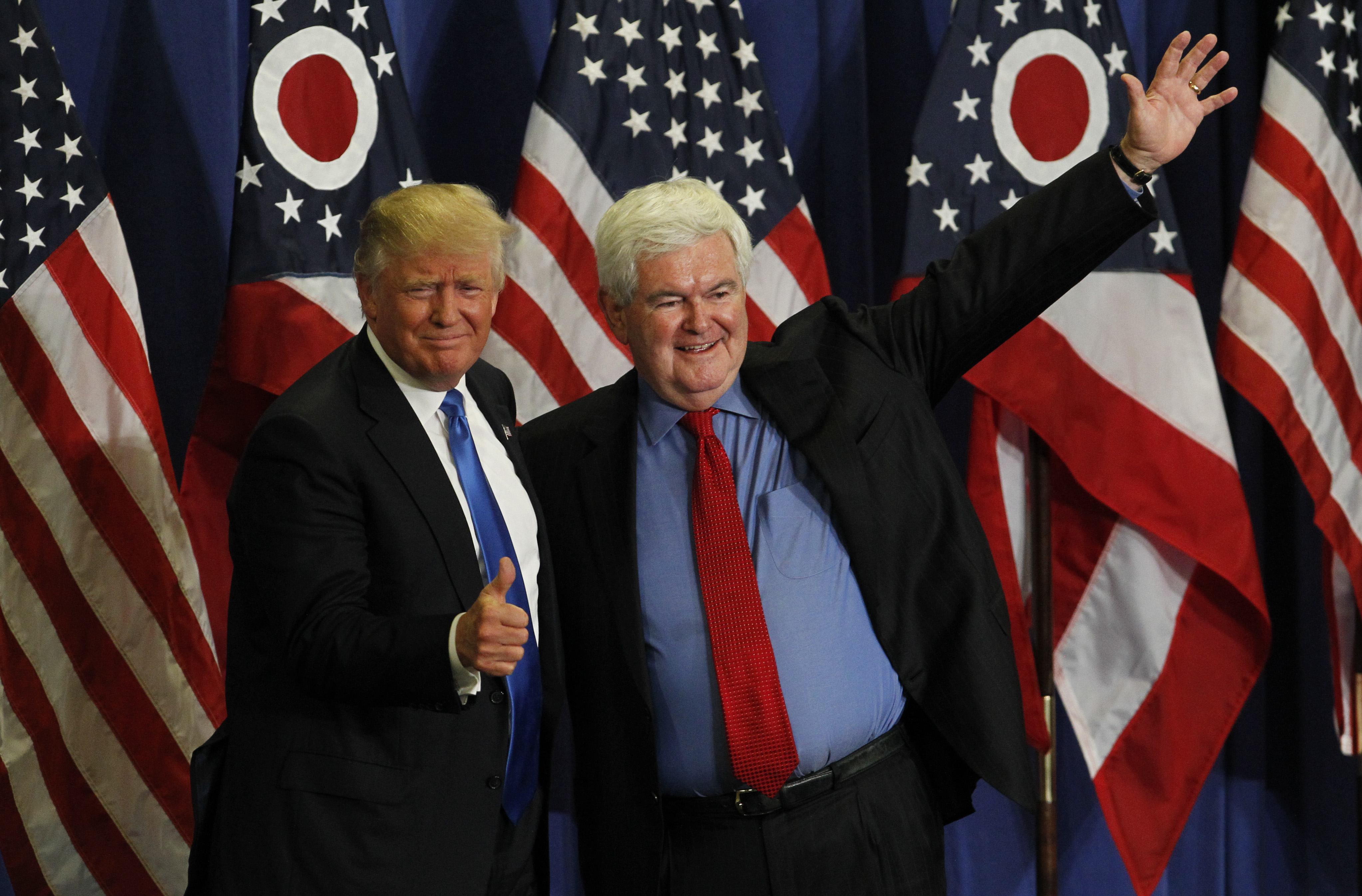Former Speaker of the House Newt Gingrich (R) introduces Republican Presidential candidate Donald Trump during a rally at the Sharonville Convention Center in Cincinnati on July 6, 2016.