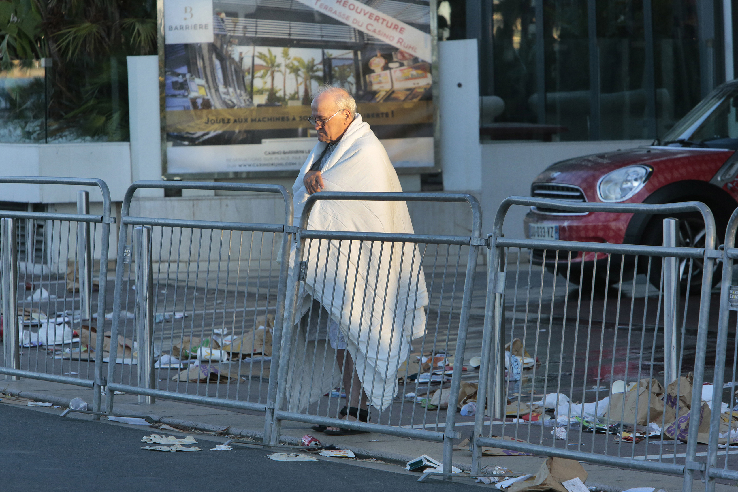 A man at the scene of the truck attack in Nice, France, on July 15, 2016. Authorities said a driver plowed into people celebrating Bastille Day late on Thursday, killing at least 84 people.