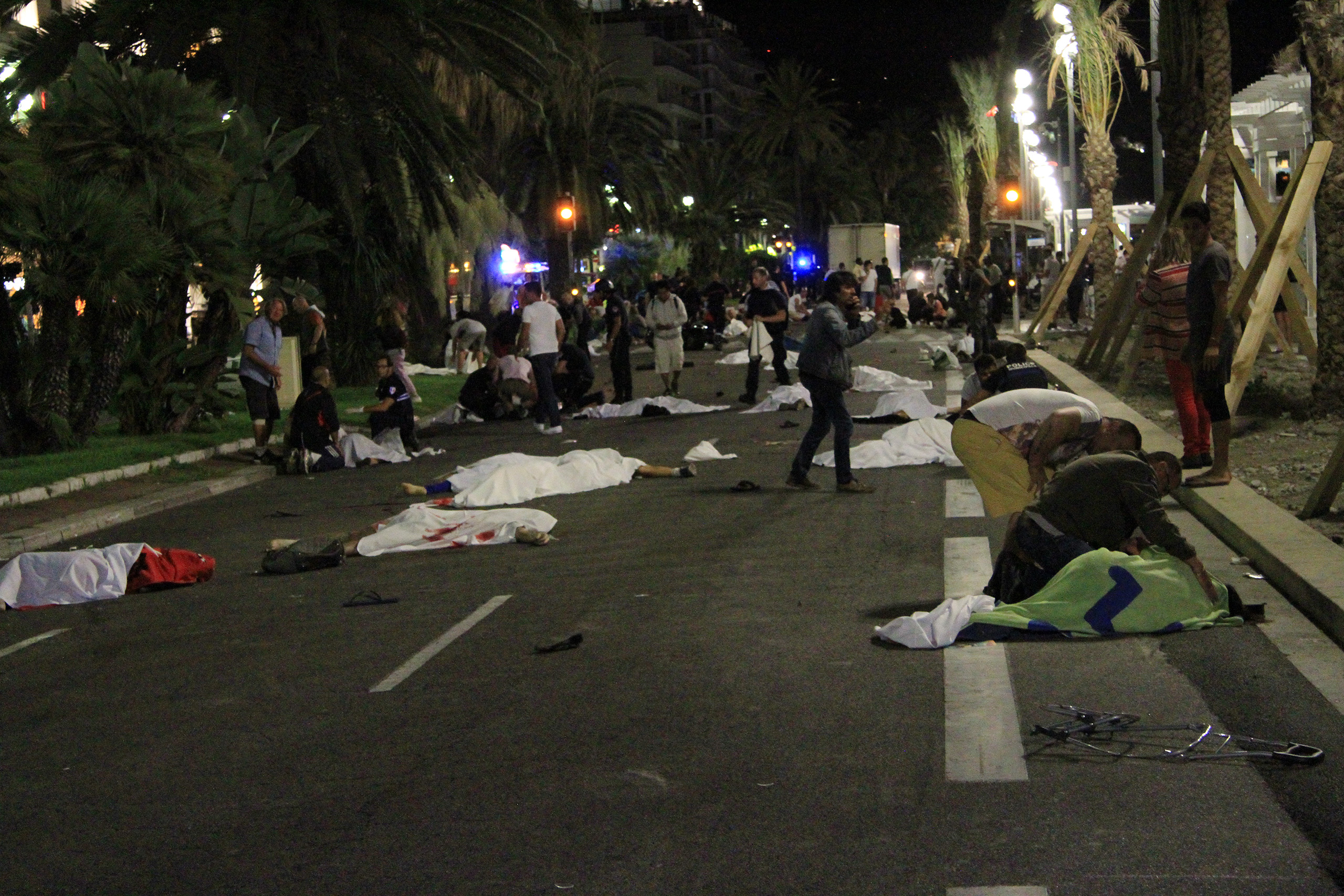 Bodies lie in the streets of Nice, France, after a terrorist attack that left at least 77 dead and dozens injured on July 14, 2016.