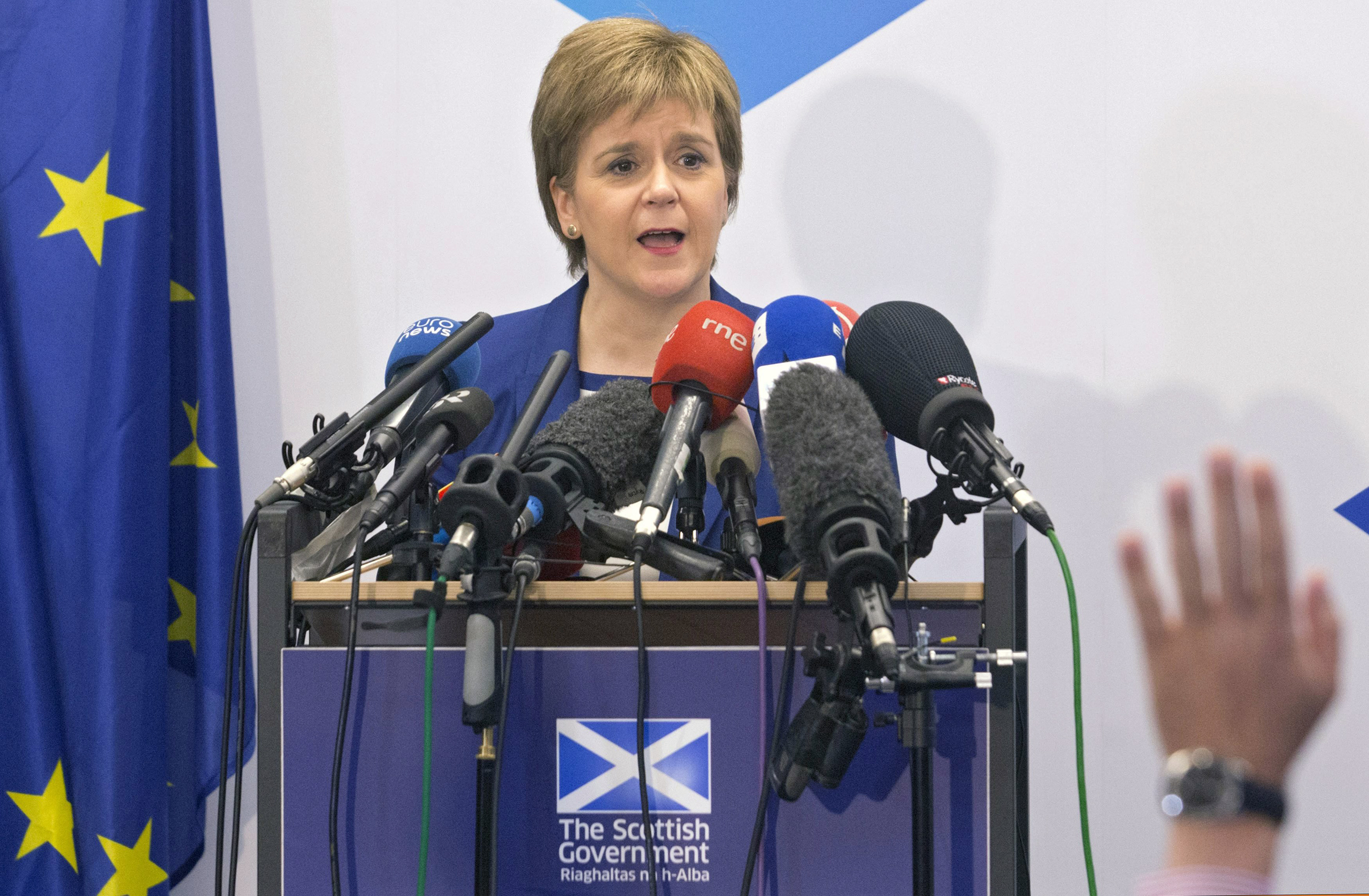 Scotland's First Minister Nicola Sturgeon holds a news conference at the Scotland House on her visit in Brussels, Belgium, June 29, 2016.