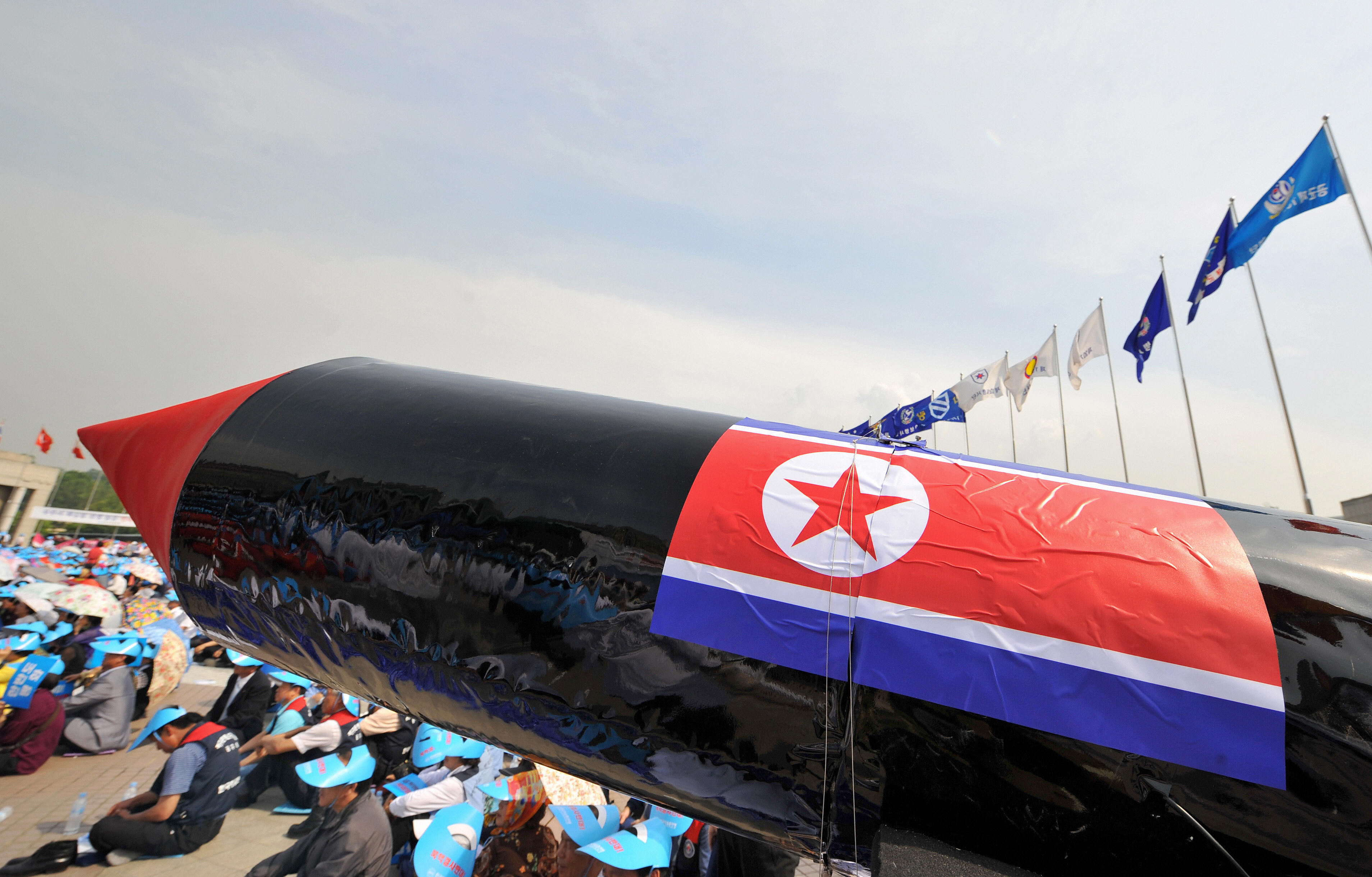 A mock North Korean missile is pictured during a rally denouncing North Korea's nuclear test and its recent missile launches, at the War Memorial of Korea in Seoul on June 4, 2009.