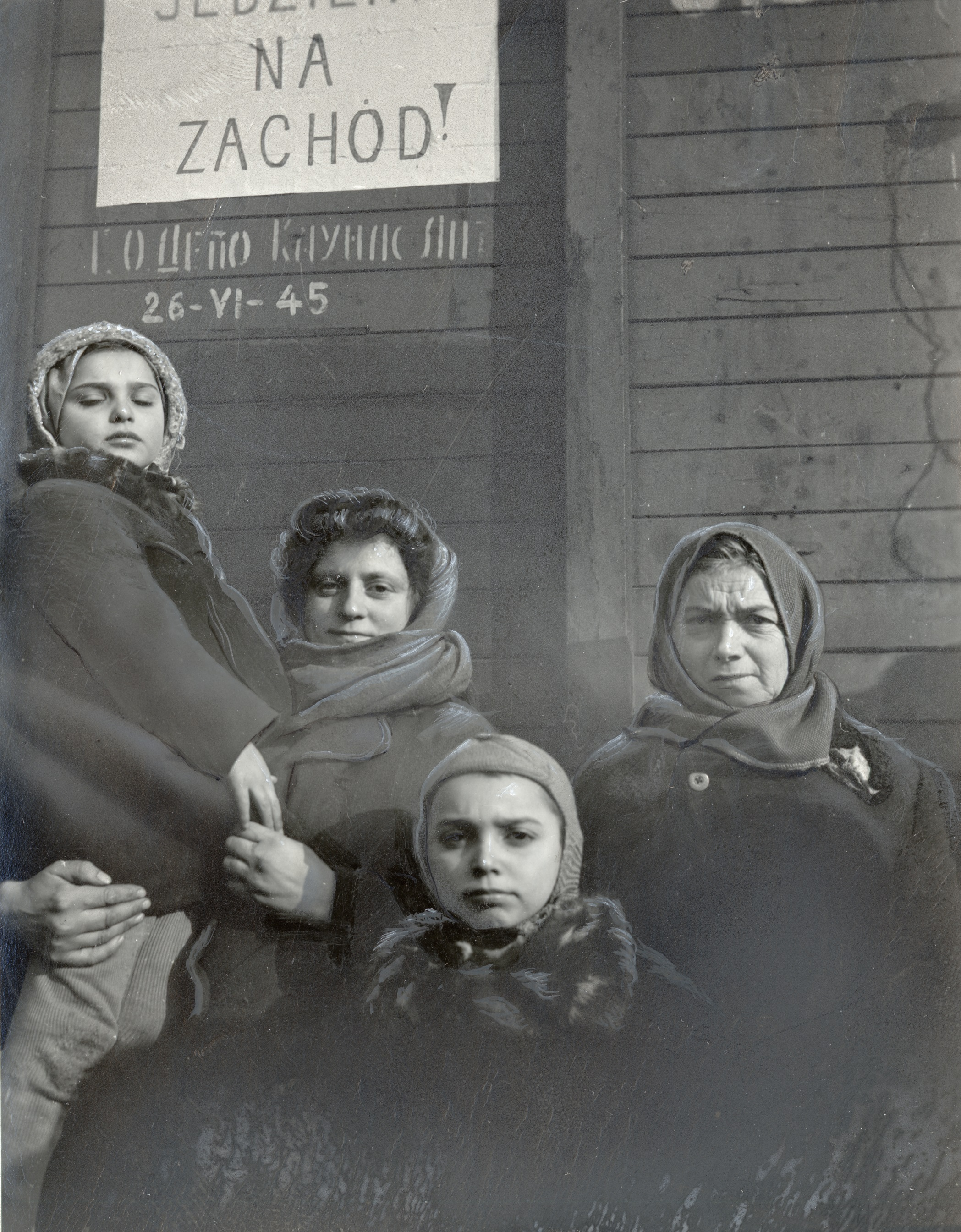"""""""On to the West"""" reads the sign on the railroad car in which these Polish Jews were repatriated from the Asiatic region of the USSR, Lower Silesia, 1946."""