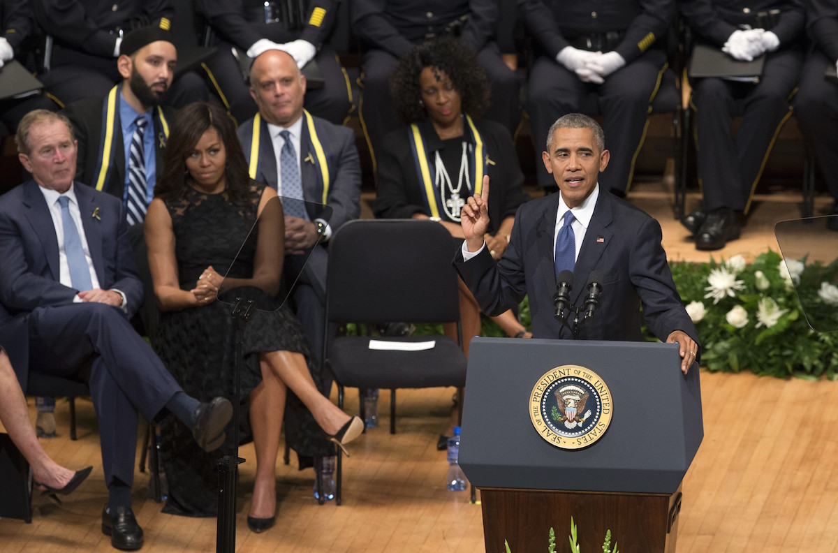 President Barack Obama delivers a speech during a memorial service for the victims of the Dallas police shooting at the Morton H. Meyerson Symphony Center in Dallas on July 12, 2016.