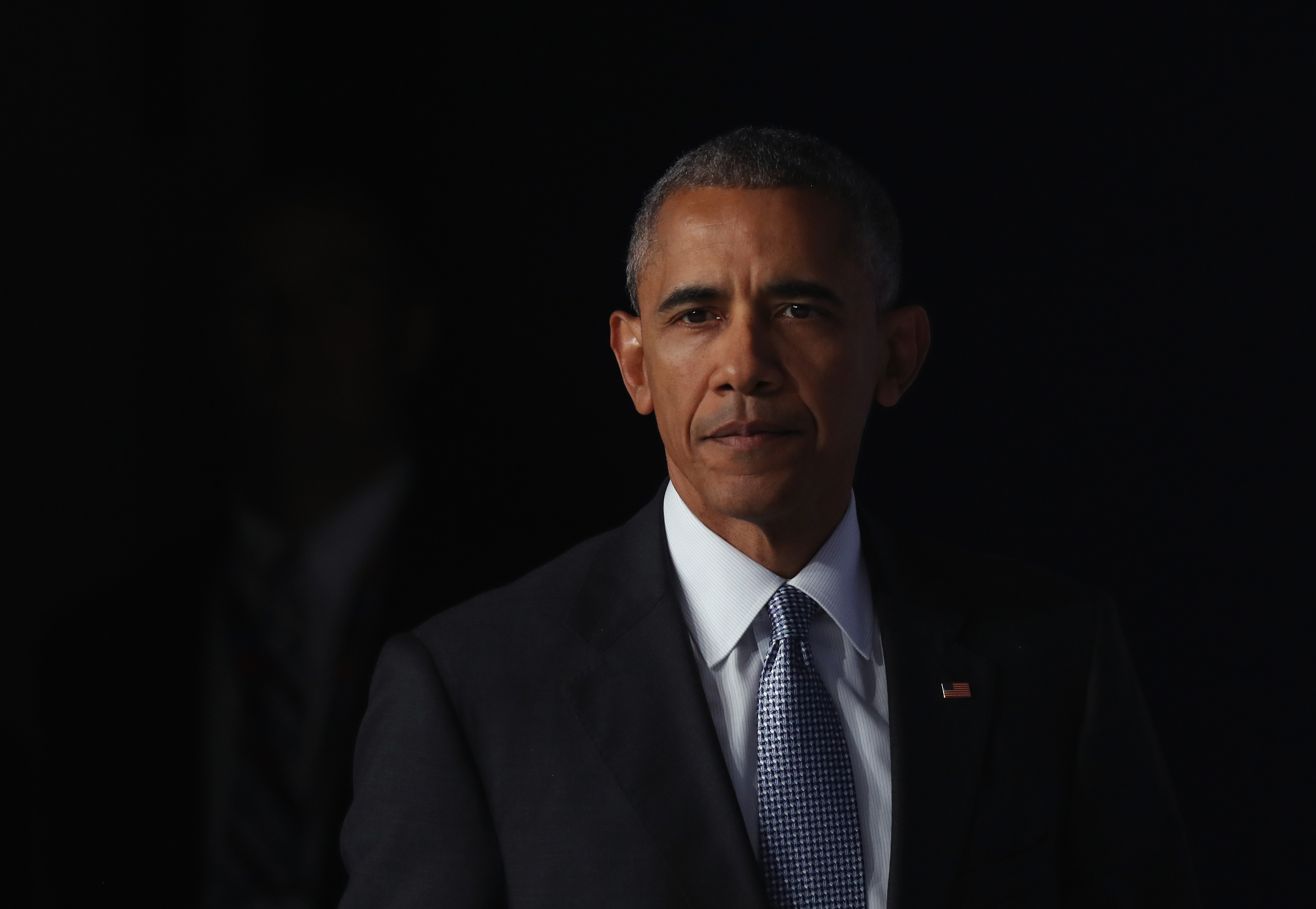 U.S. President Barack Obama arrives to speak to the media at the conclusion of the Warsaw NATO Summit in Warsaw, on July 9, 2016.
