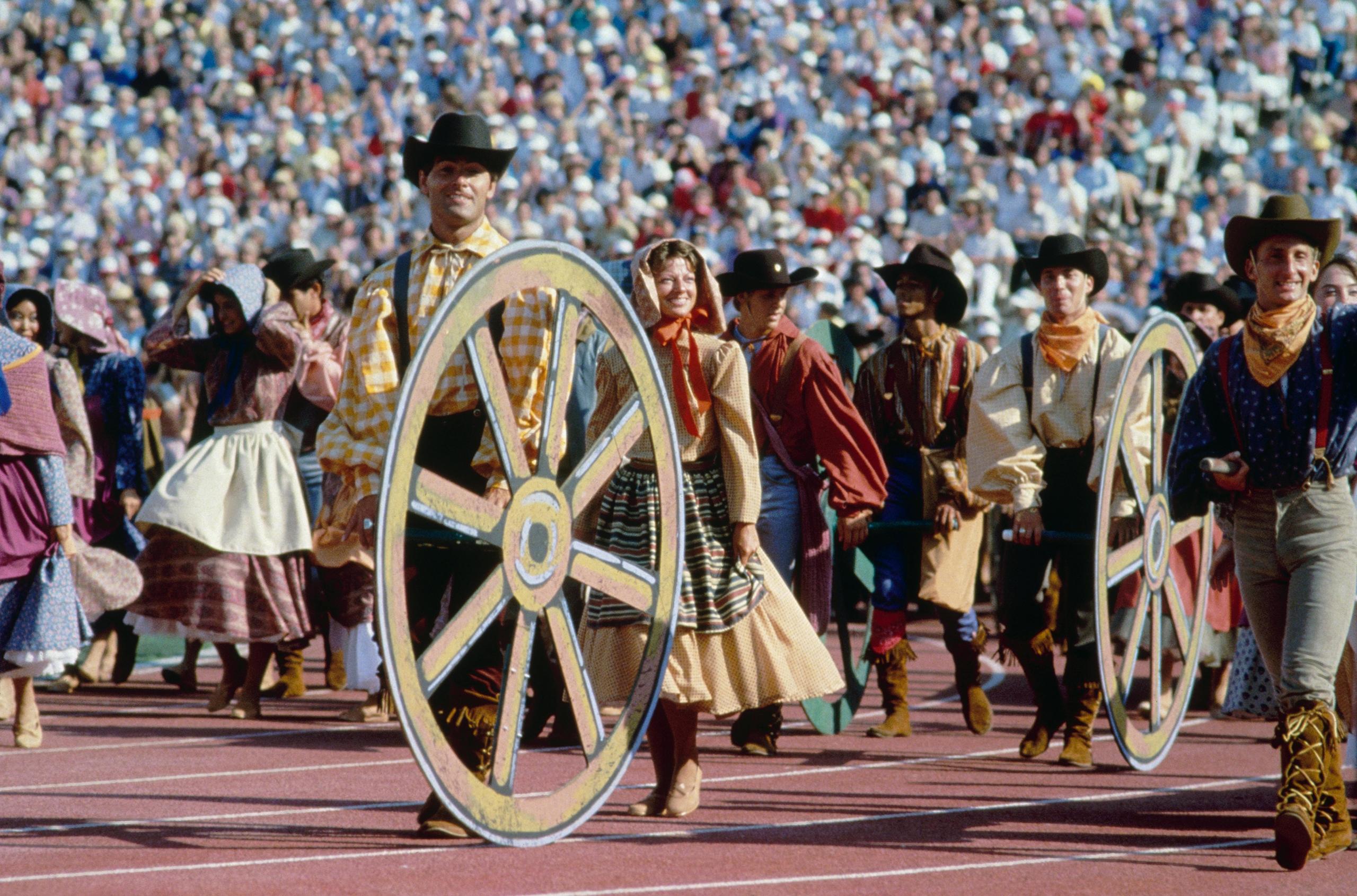 Los Angeles, 1984Actors perform the show,  Pioneer Spirit.