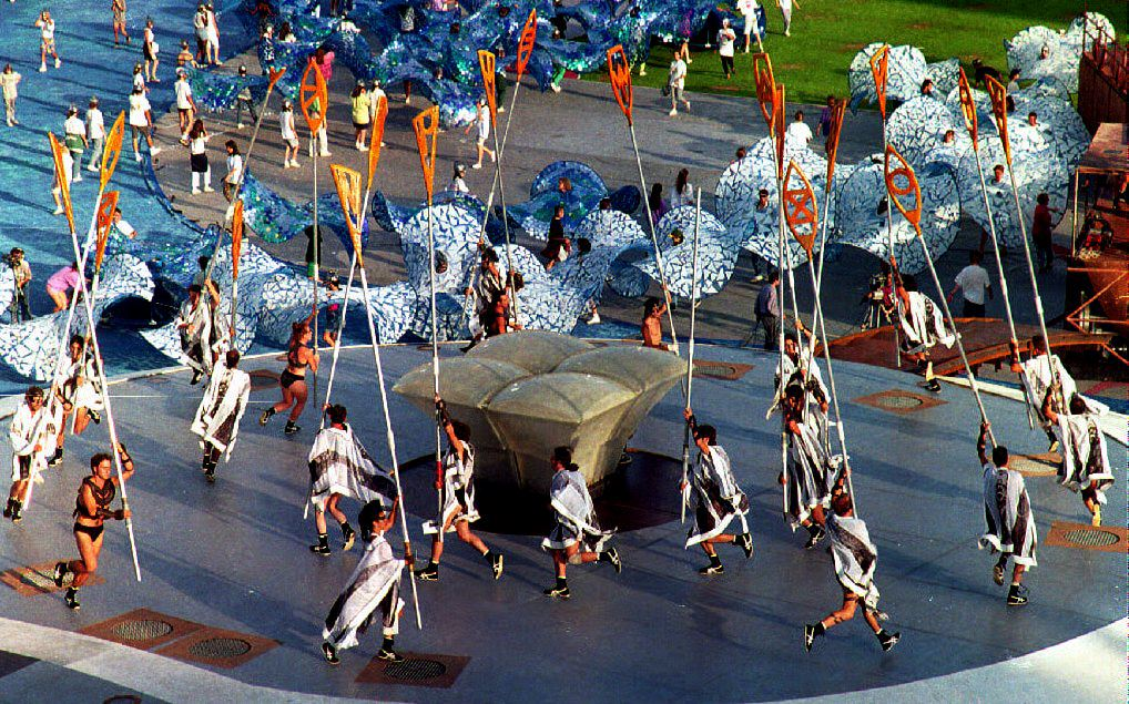 Barcelona, 1992Costumed performers train for the opening ceremony at a rehearsal session in the Olympic stadium.