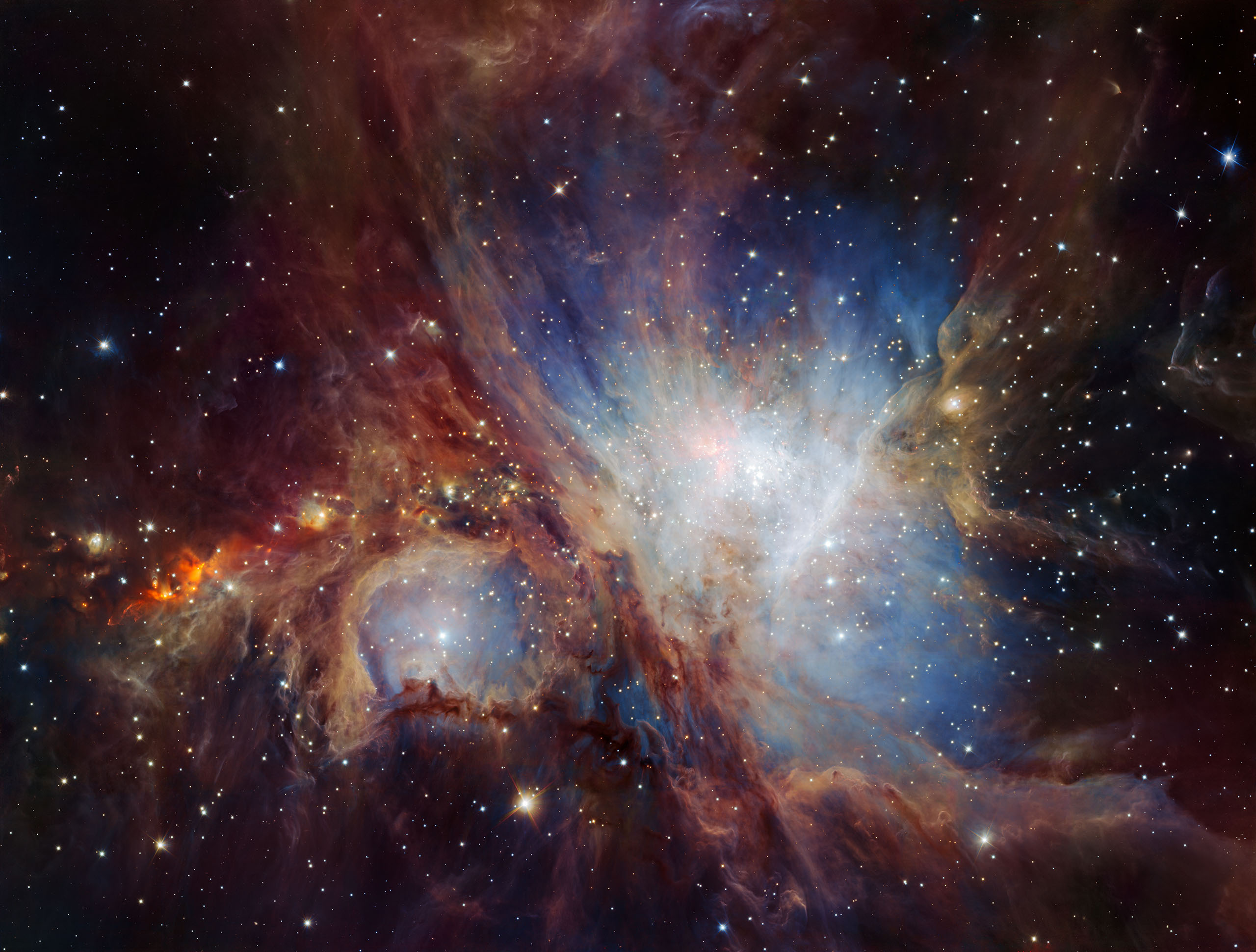 This image of the Orion Nebula star-formation region was obtained from multiple exposures using the HAWK-I infrared camera on ESO's Very Large Telescope in Chile.