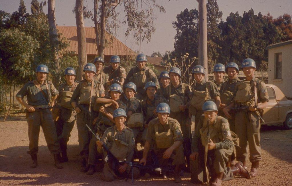 Comdt. Pat Quinlan, far left, poses with soldiers of A Company, 35th Infantry Battalion, in Elisabethville, before the siege.