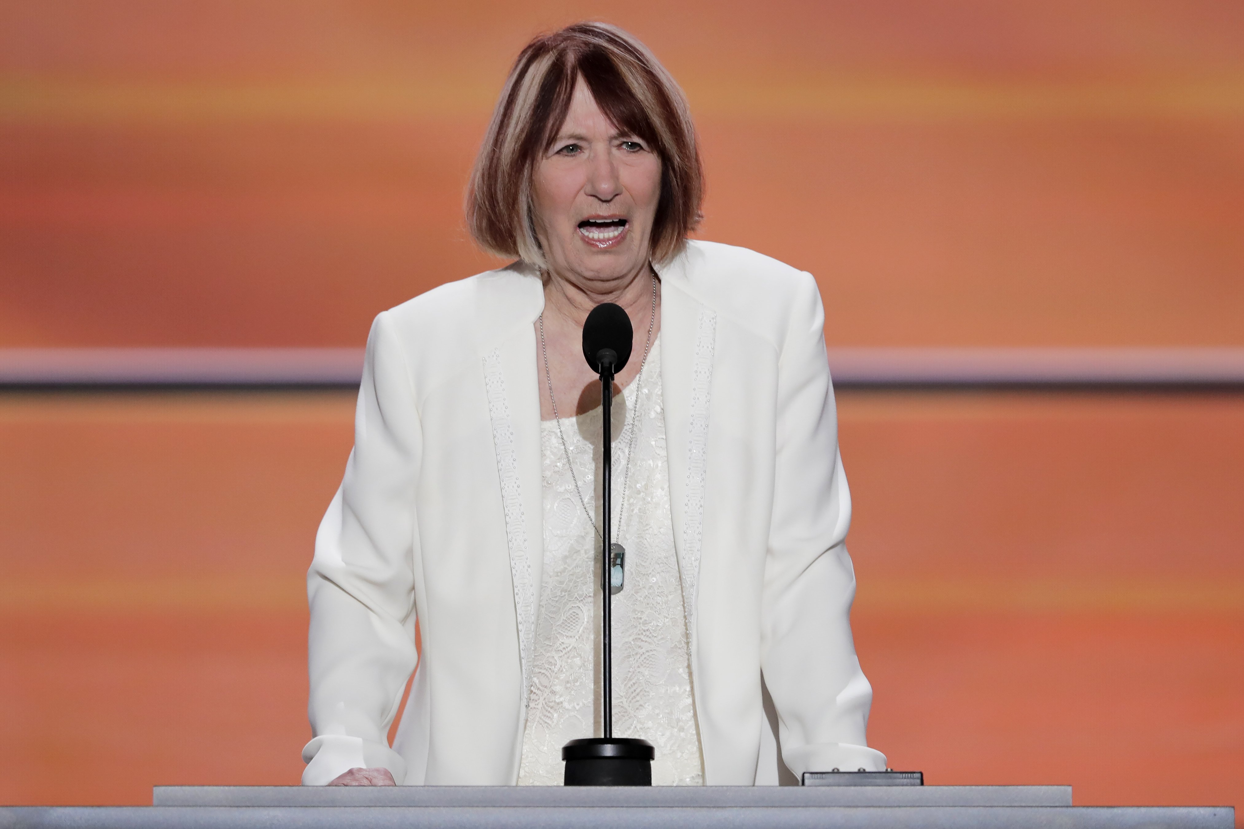 Pat Smith, mother of Benghazi victim Sean Smith speaks during the opening day of the Republican National Convention in Cleveland, Monday, July 18, 2016. (AP Photo/J. Scott Applewhite)