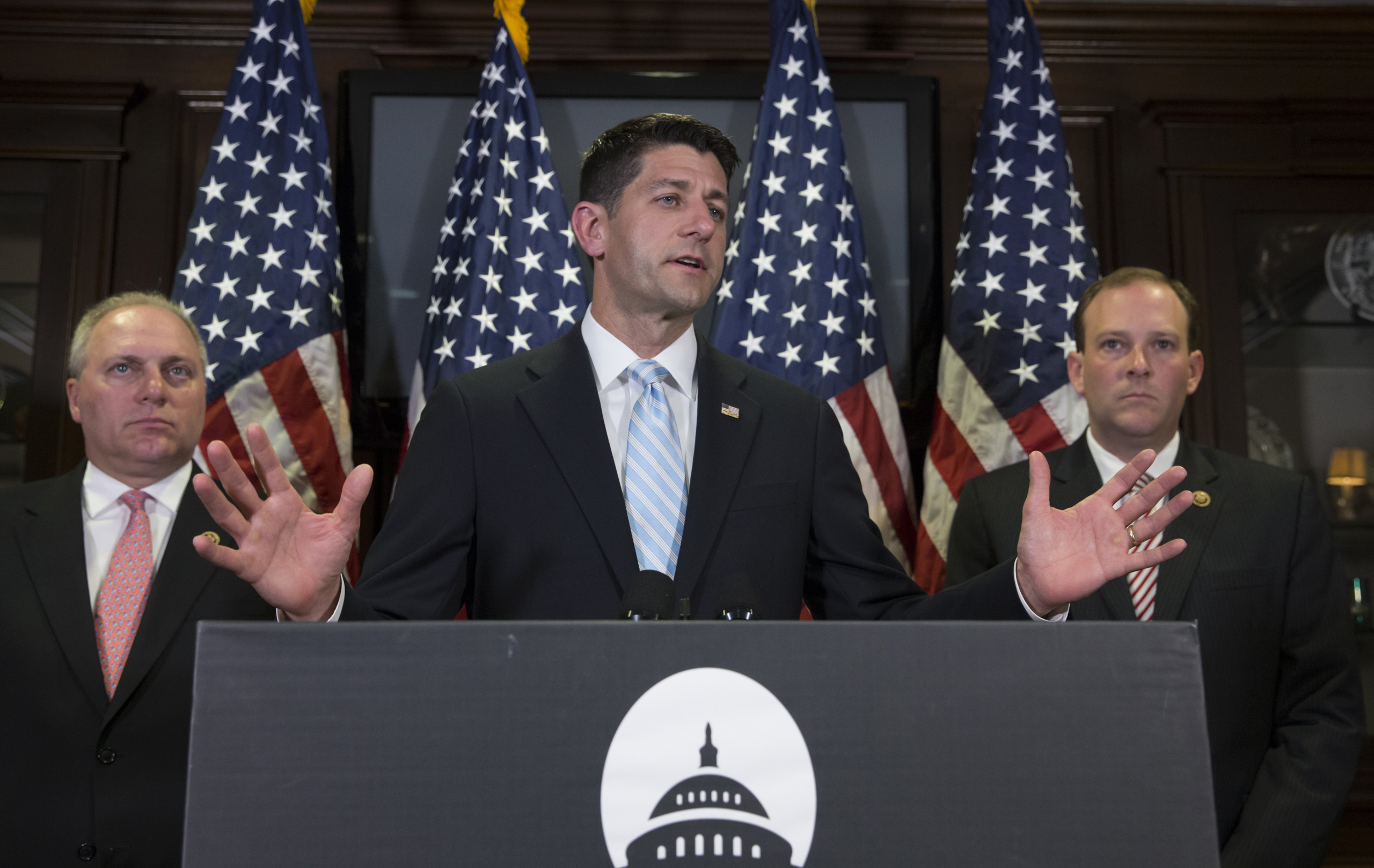 House Speaker Paul Ryan of Wis. tells reporters it looks like Hillary Clinton got preferential treatment from the FBI in its investigation of the former secretary of state's use of a private email server for government business, during a news conference at Republican National Committee Headquarters on Capitol Hill in Washington, D.C. on July 6, 2016.