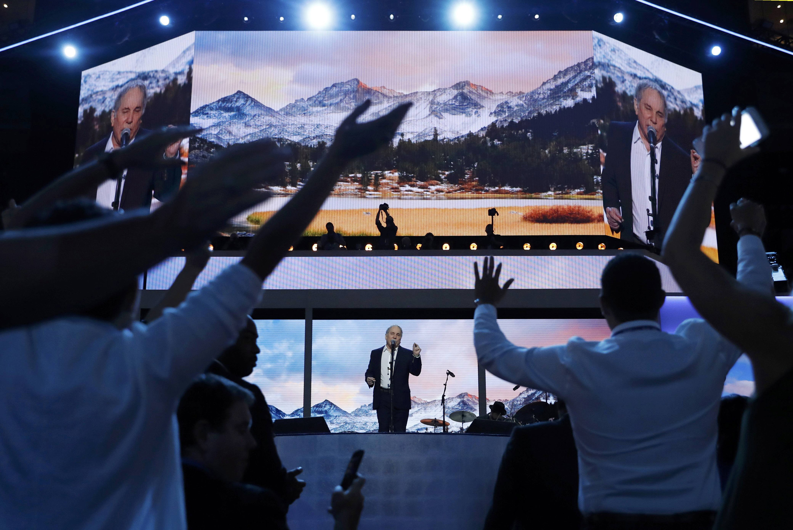 Recording artist Paul Simon performs at the Democratic National Convention in Philadelphia on July 25, 2016.