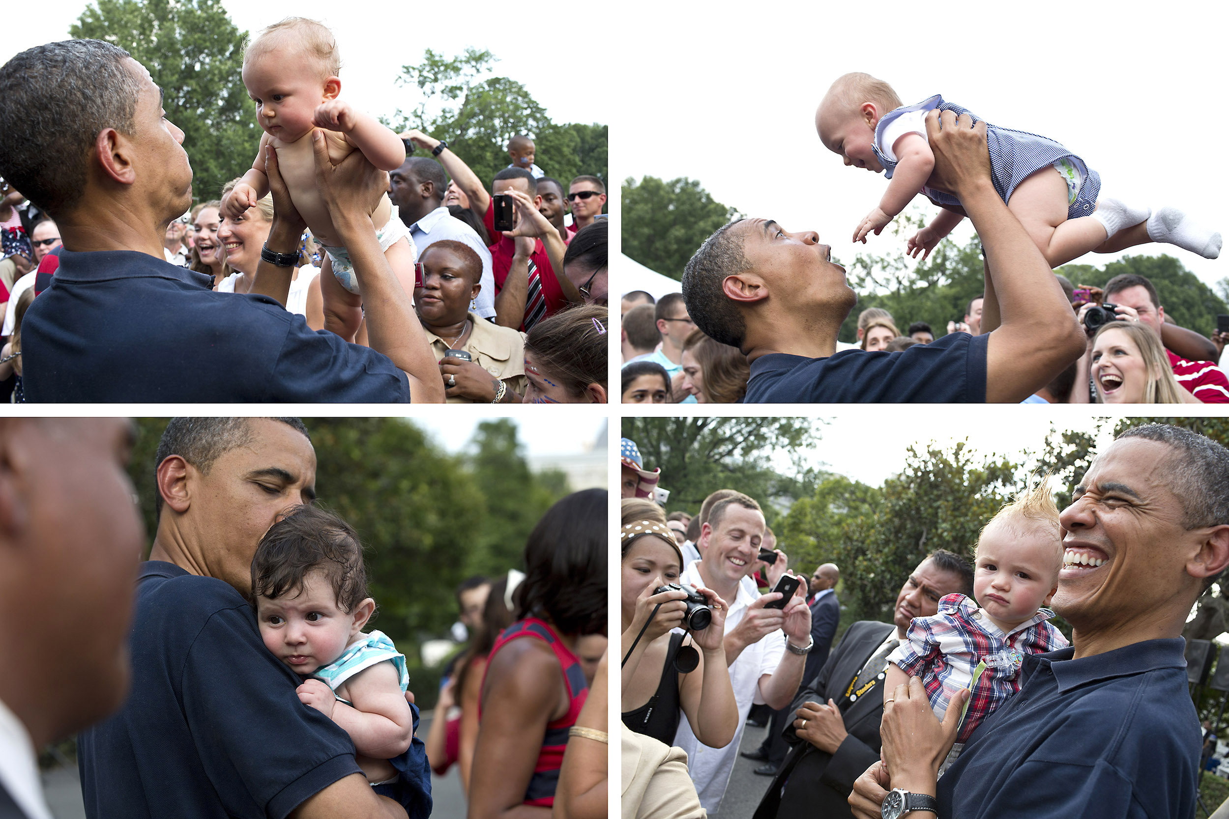 """July 4, 2012                               Pete Souza: """"There seemed to be more babies than usual amongst the military families so I made a quad of four different babies that the President played with for awhile.""""                               Composite of photos of President Barack Obama holding a baby as he and First Lady Michelle Obama greet military personnel and their families during an Independence Day celebration on the South Lawn of the White House, July 4, 2012."""