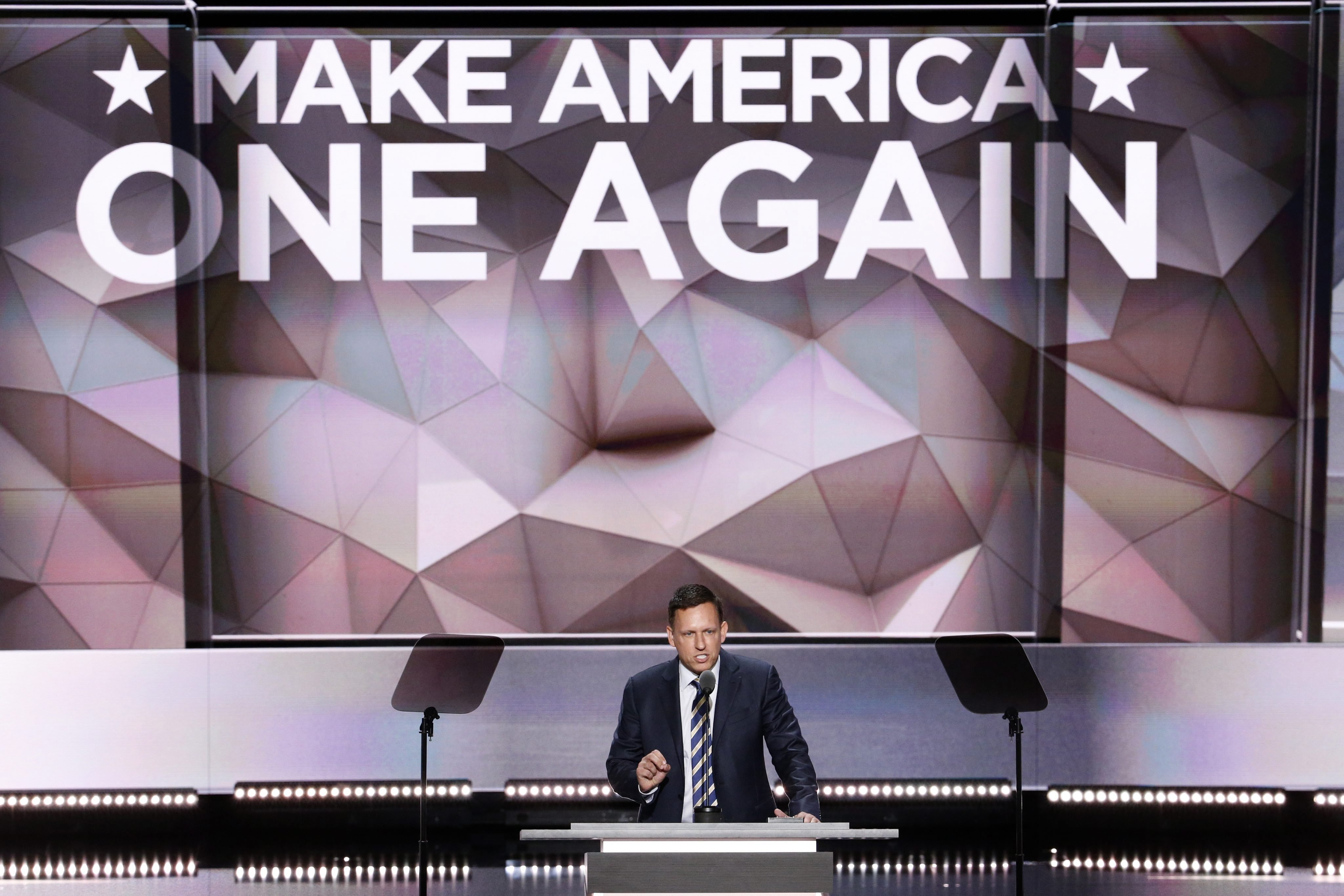 Peter Thiel delivers remarks in the Quicken Loans Arena on the final day of the 2016 Republican National Convention in Cleveland on Thursday, July 21, 2016.
