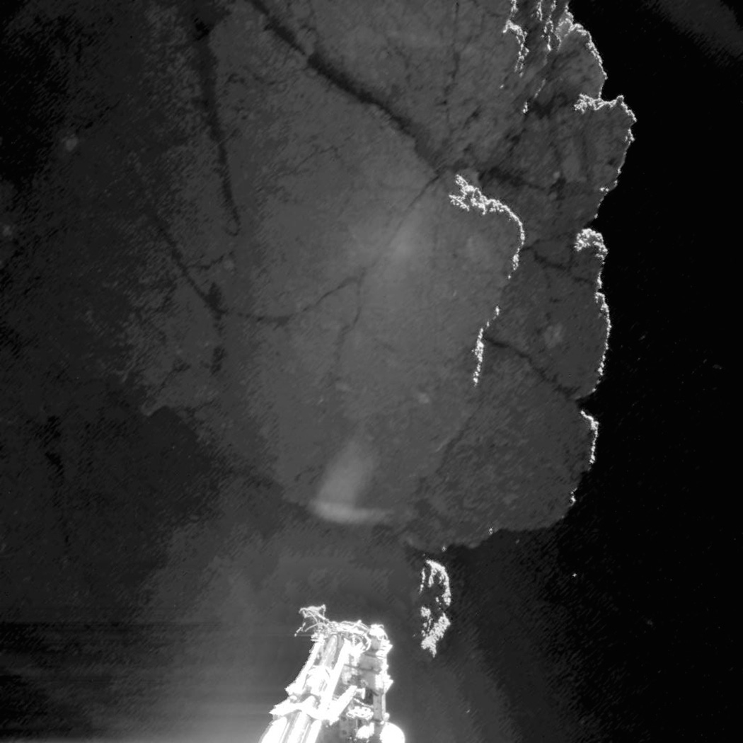 This image was acquired by Philae's CIVA camera 1 at the final landing site Abydos, on the small lobe of Comet 67P/Churyumov–Gerasimenko, on Nov. 13, 2014.