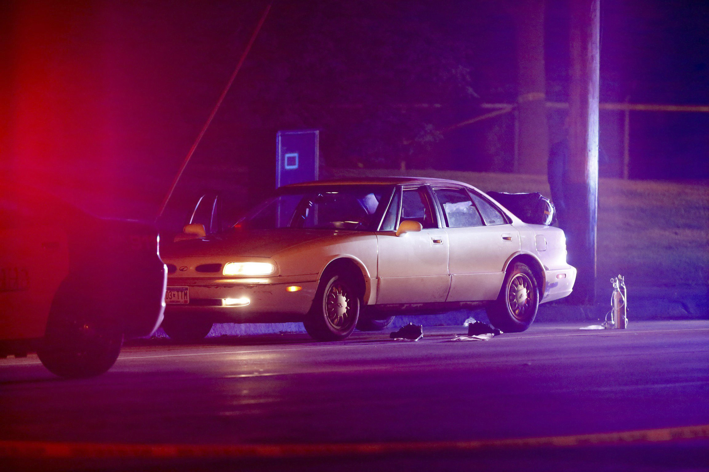 A car at the scene of a shooting of a man involving a St. Anthony Park Police officer in Falcon Heights, Minn., on July 6, 2016.