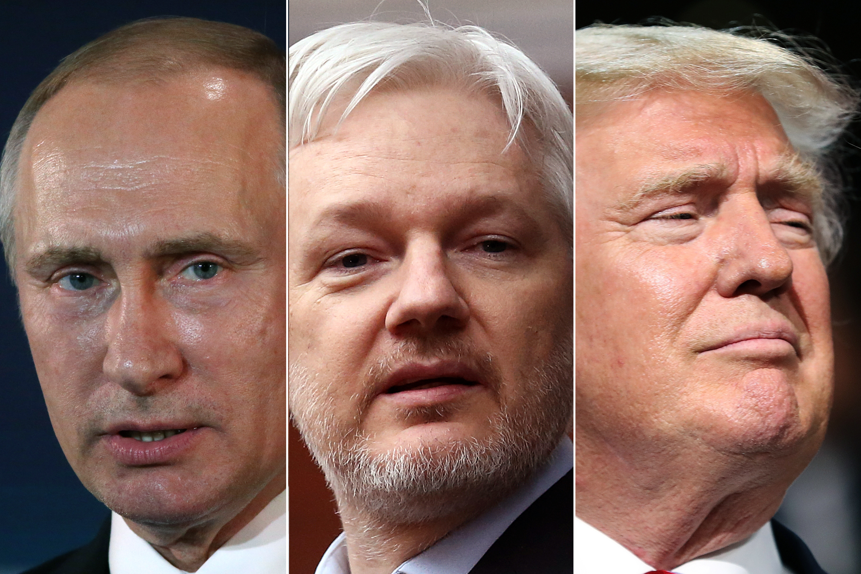 Vladimir Putin in Moscow, in July 2016 (L); Julian Assange in the balcony of the Ecuadorian Embassy in London, in Feb. 2016 (C); Donald Trump in Cleveland, OH, in July 2016 (R).