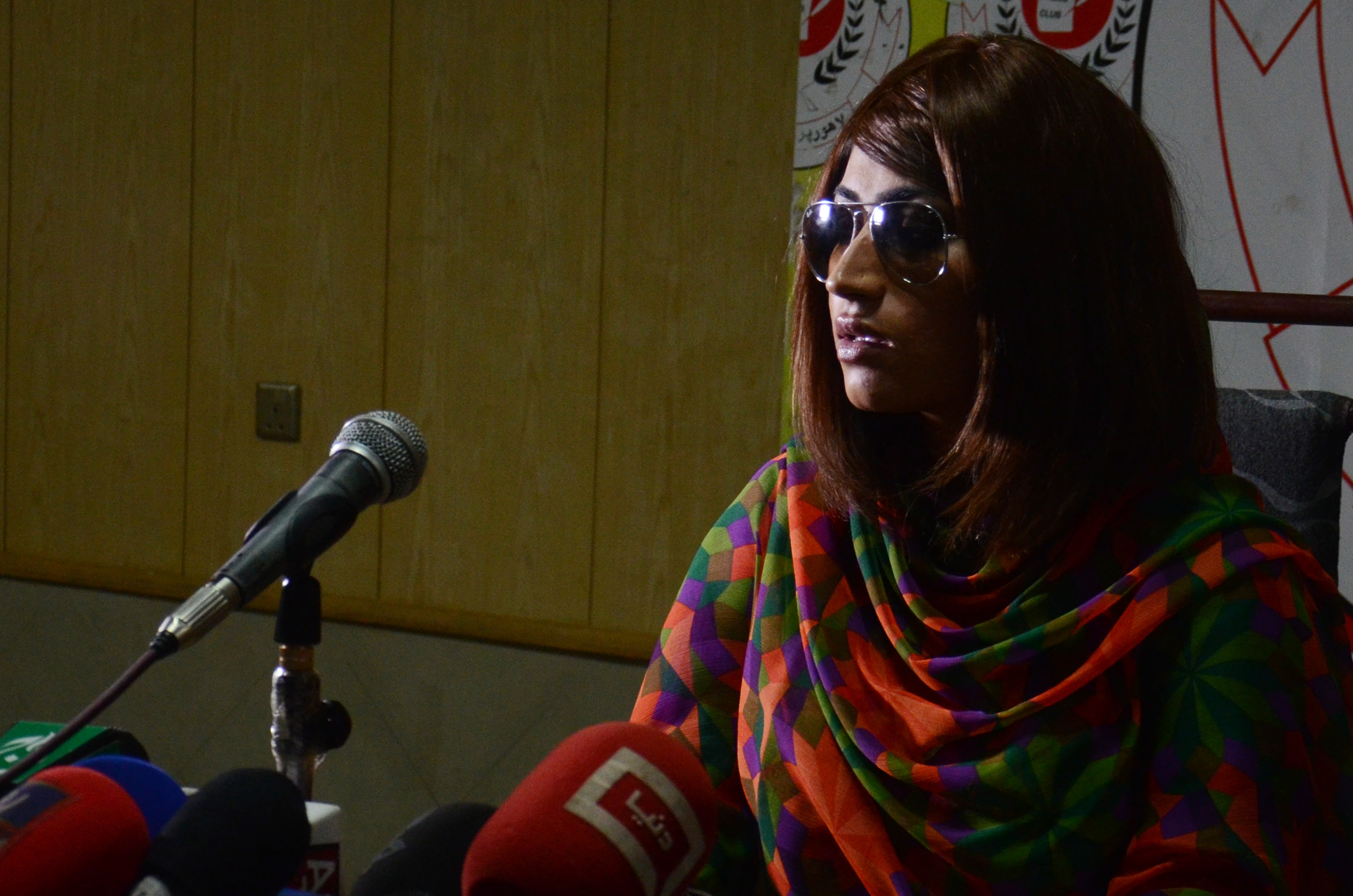 Late Pakistani actress and model Qandeel Baloch addresses the media on June 28, 2016. On July 15, 2016, her brother killed her because  she was bringing dishonor to [his] family.