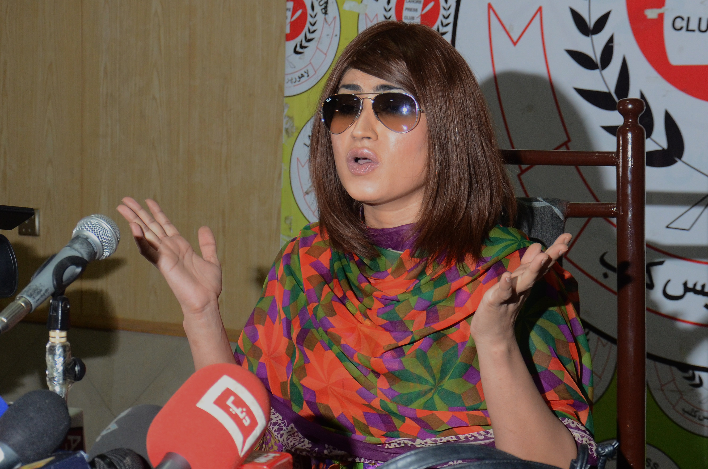 Pakistani actress and model Qandeel Baloch addresses media during a press conference on June 28, 2016.