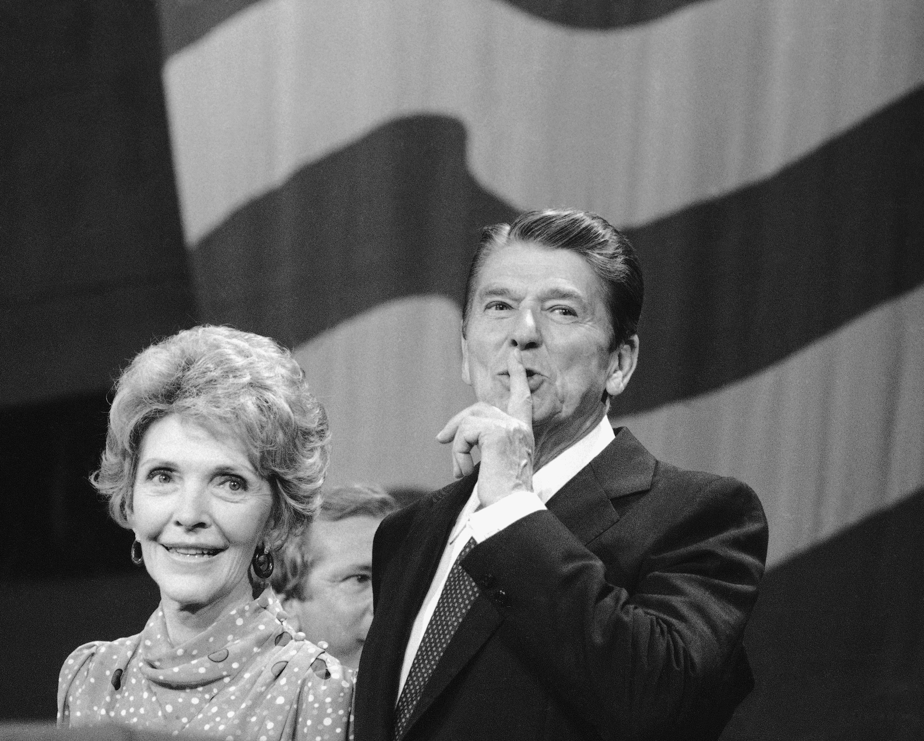 President Ronald Reagan and First Lady Nancy Reagan at the 33rd Republican National Convention in Dallas, Aug. 24, 1984.