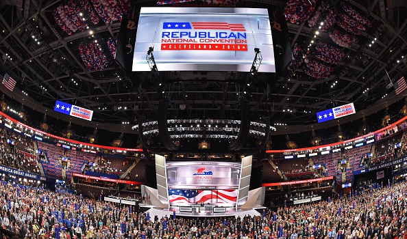 Delegates pose for an official convention photograph on the opening day of the Republican National Convention at the Quicken Loans arena in Cleveland, Ohio on July 18, 2016.