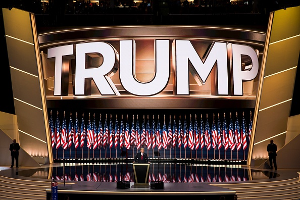 The Republican convention stage left no doubt who the nominee was and the surfeit of American flags echoed his campaign theme of making America great.