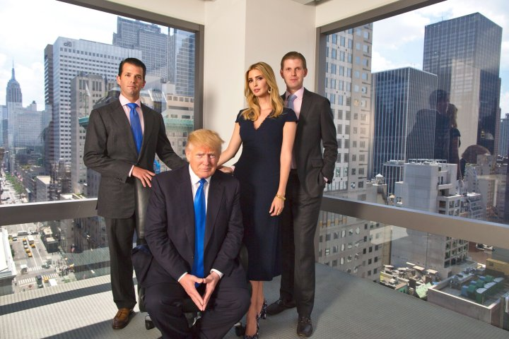 From left: Donald Jr., Ivanka and Eric Trump with their father on July6 at Trump Tower in New York City