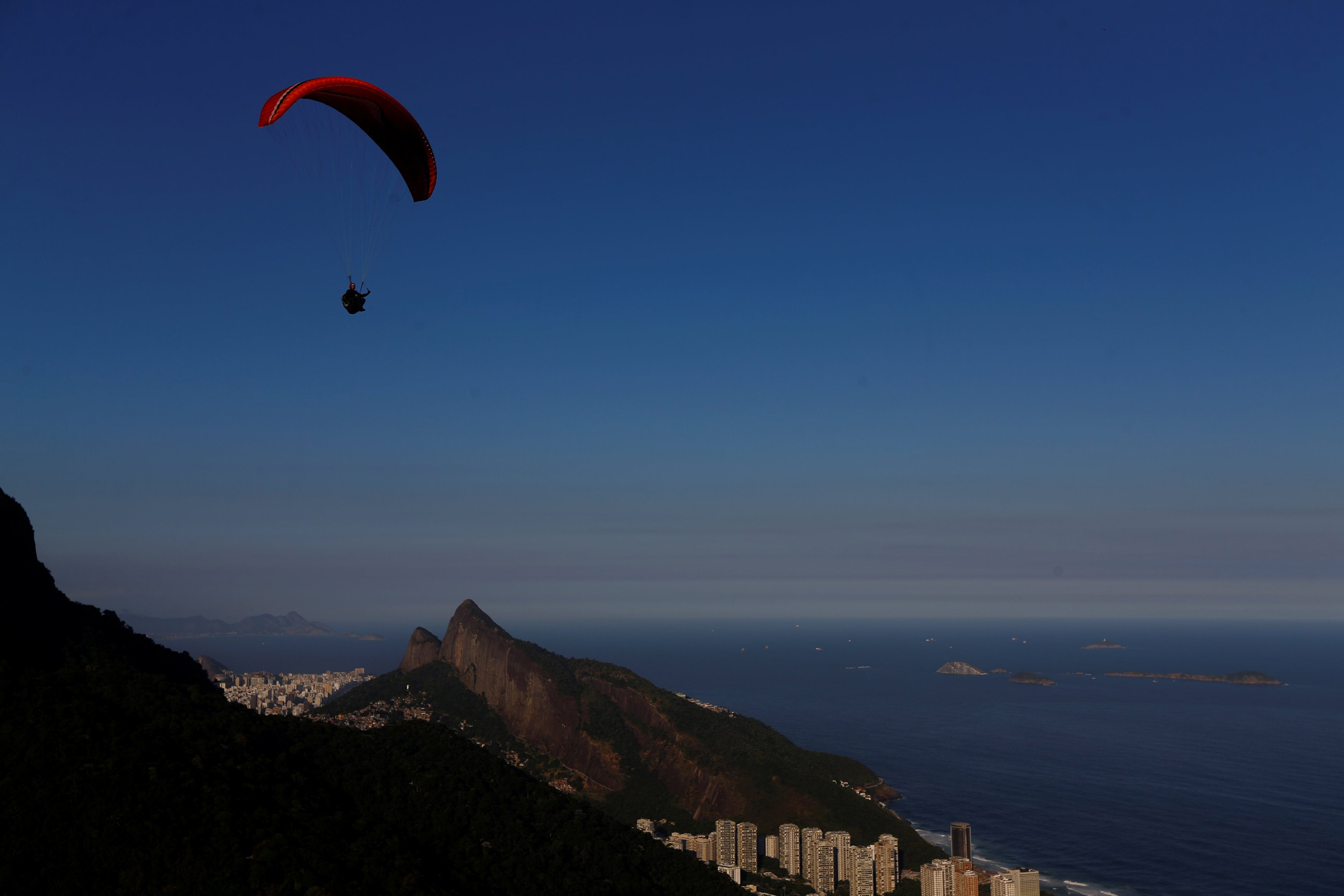 Morro Dois Irmao (Two Brothers Hill) is seen from Pedra Bonita mountain in Rio de Janeiro on May 3, 2016.