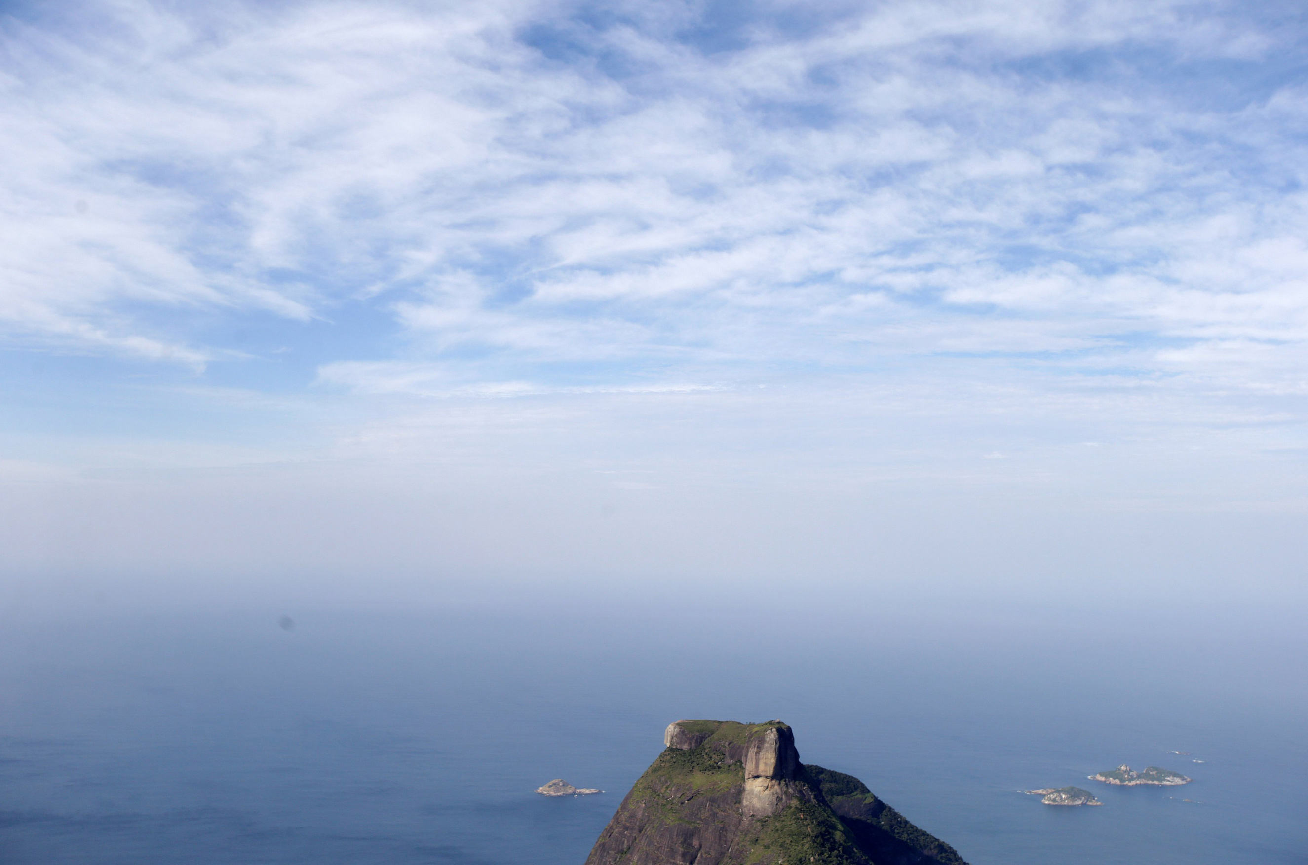 An aerial view shows the Pedra da Gavea mountain in Rio de Janeiro on July 16, 2016.