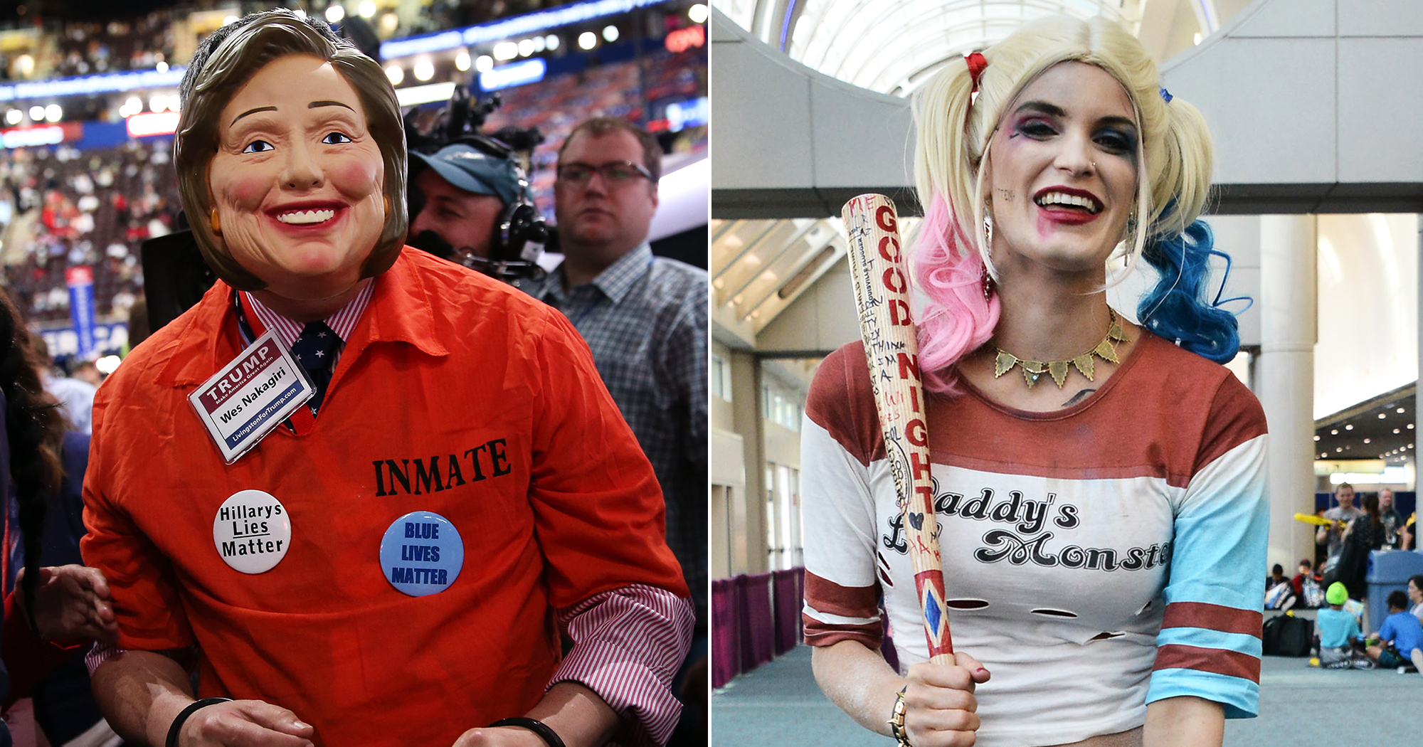 Attendees at the RNC, left, and at Comic-Con, right.