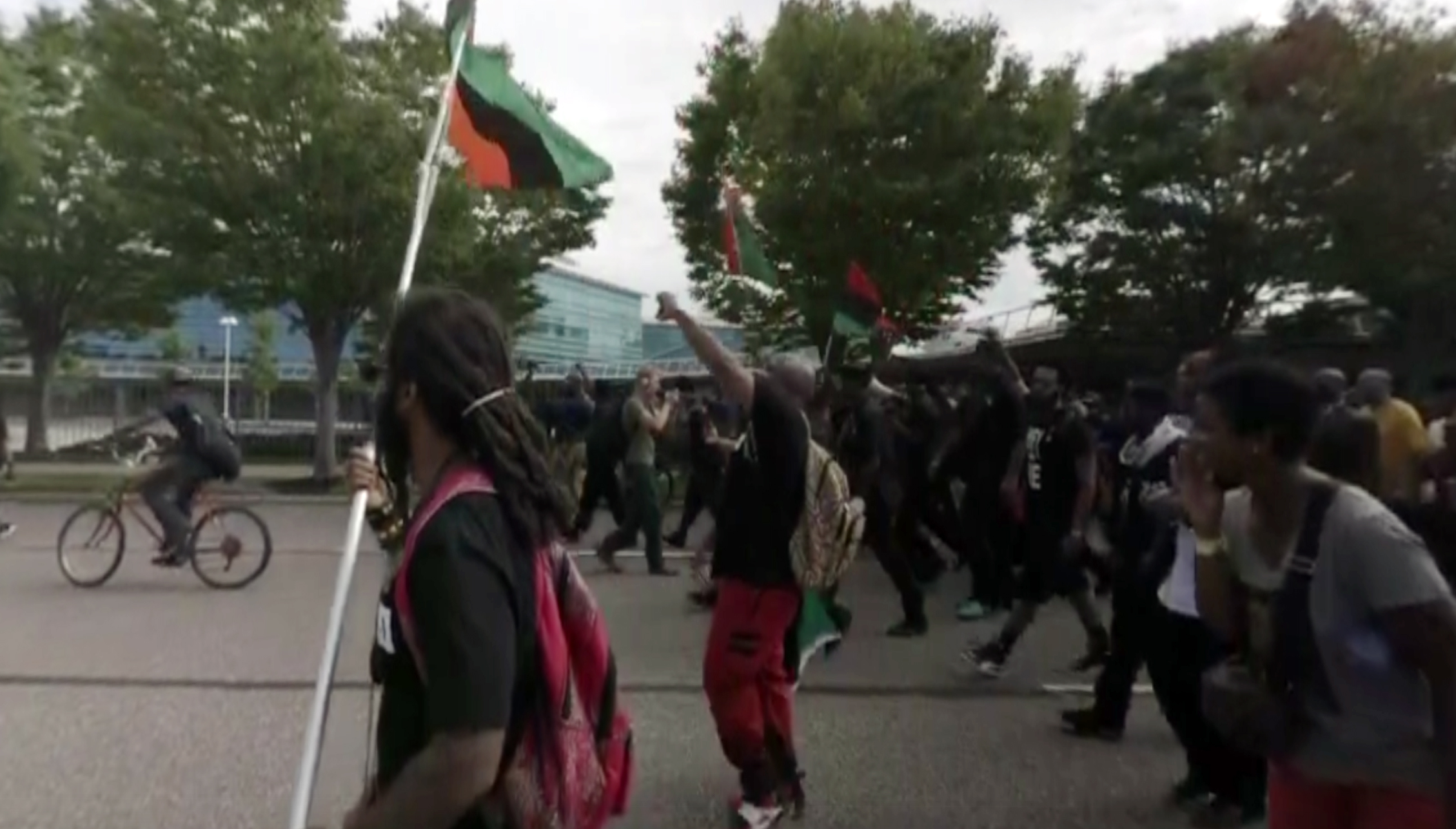This still frame from 360 video shows a protest at the Republican National Convention in Cleveland.