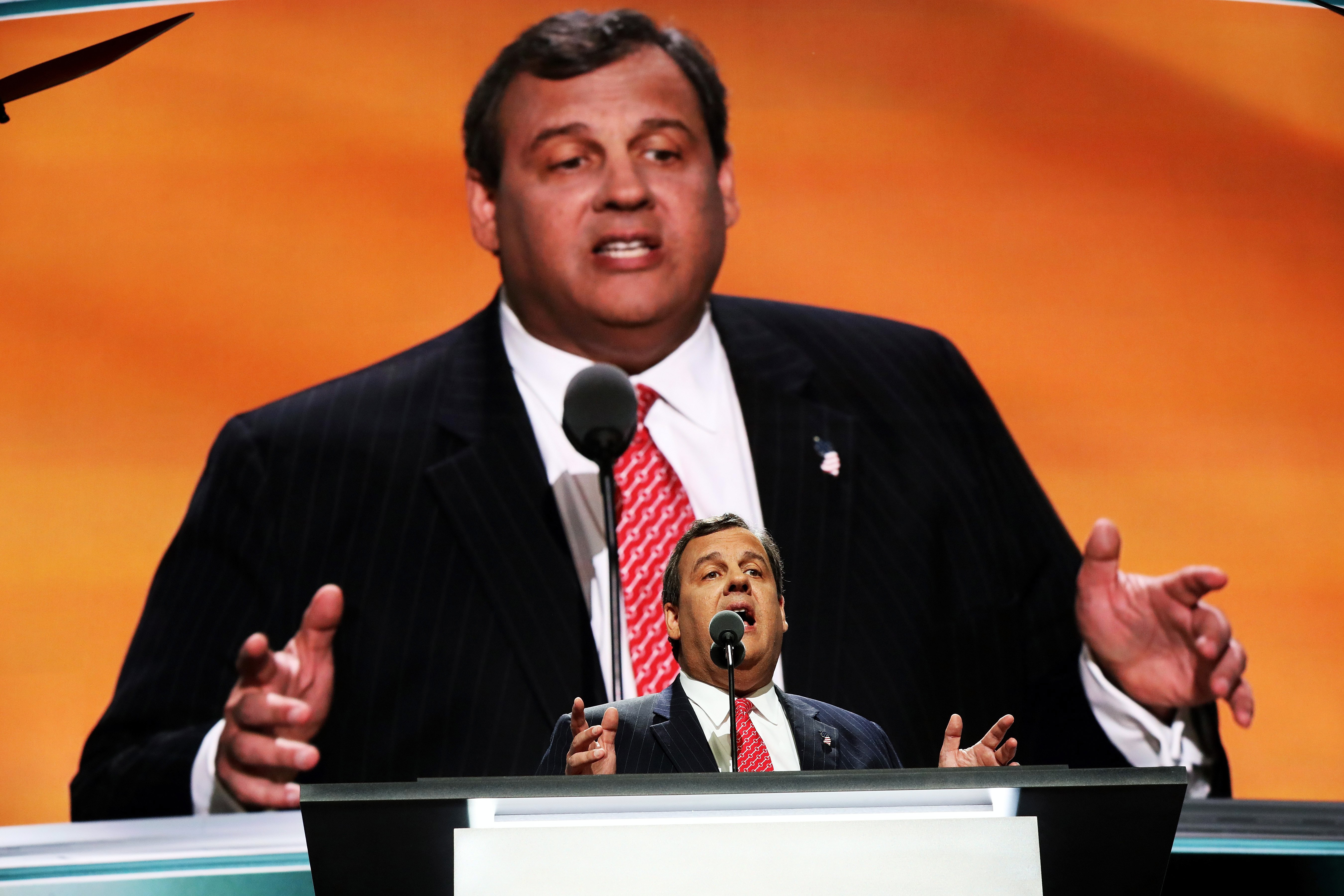 New Jersey Gov. Chris Christie delivers a speech on the second day of the Republican National Convention on July 19, 2016 at the Quicken Loans Arena in Cleveland.