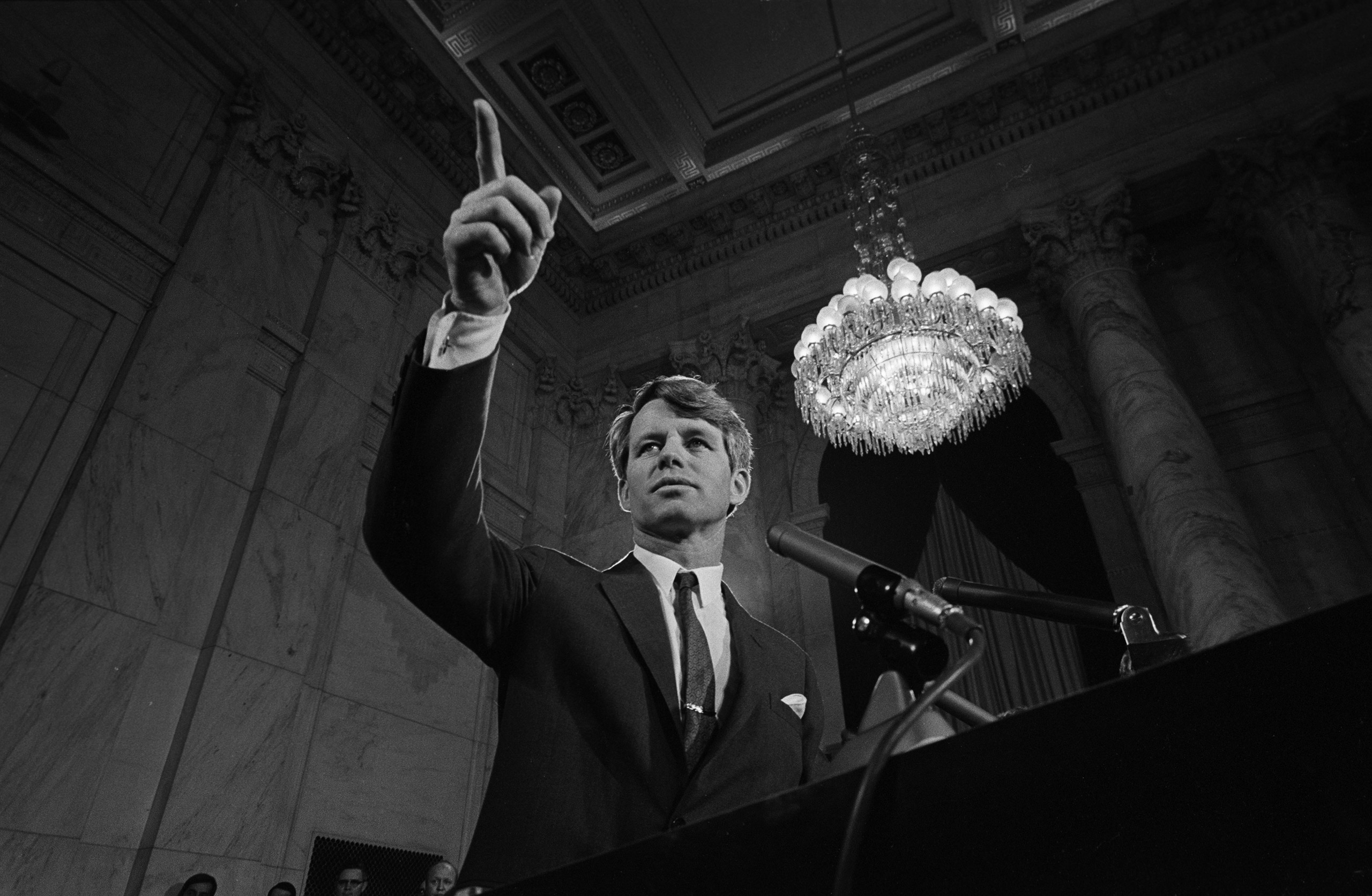 Portrait of Robert F. Kennedy announcing he is running for president.