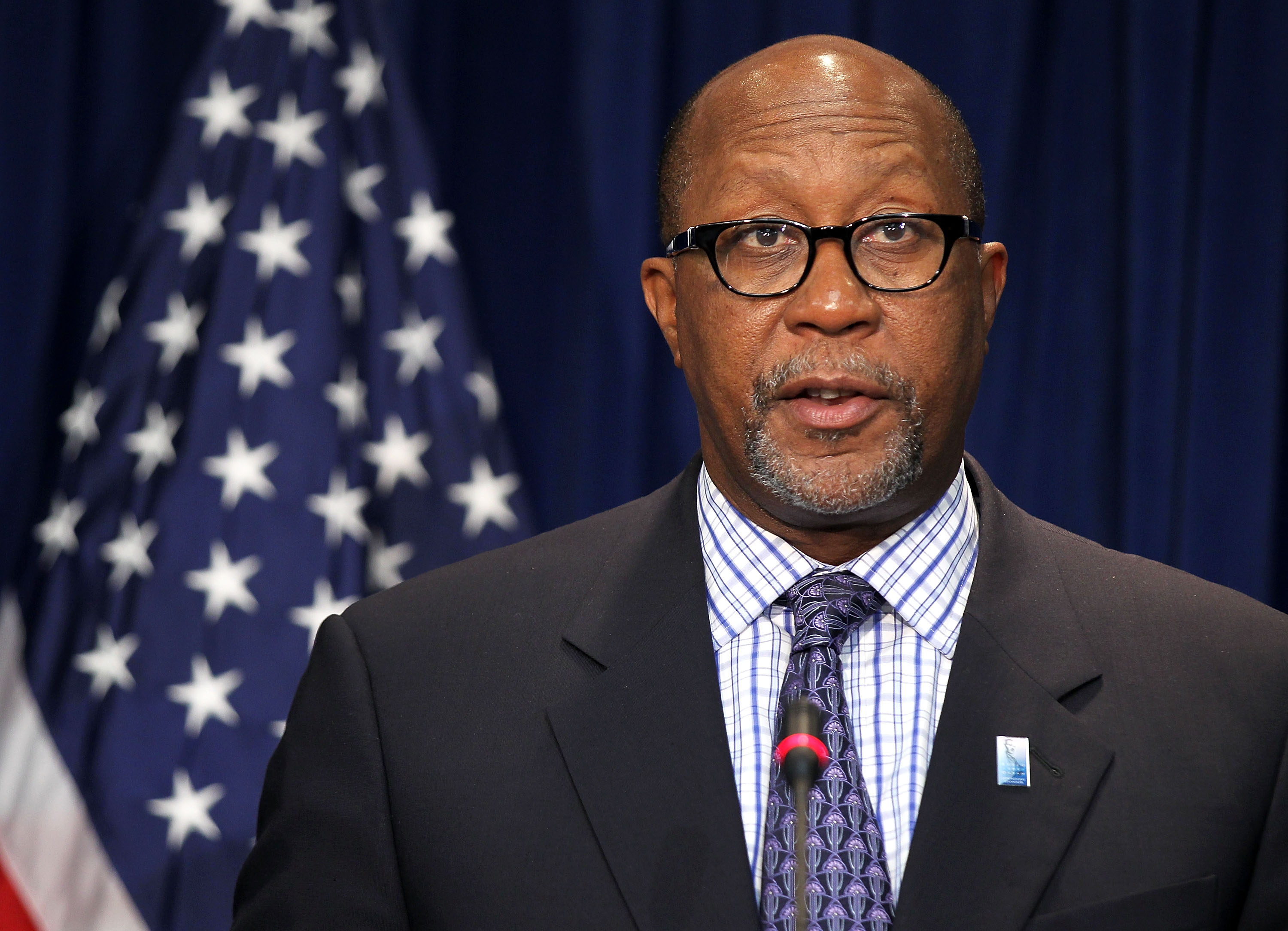 U.S. Trade Representative Ron Kirk speaks as he announces a trade enforcement action against China in Washington, DC., Sept. 20, 2011.