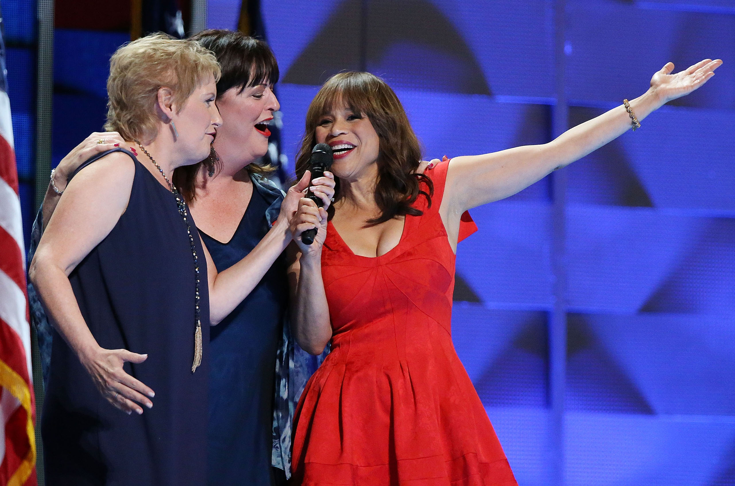 Rosie Perez joins the Stars of Broadway to perform 'What the World Needs Now' honoring those killed in the Pulse nightclub shooting in Orlando on the third day of the Democratic National Convention at the Wells Fargo Center in Philadelphia, Pennsylvania, on July 27, 2016.