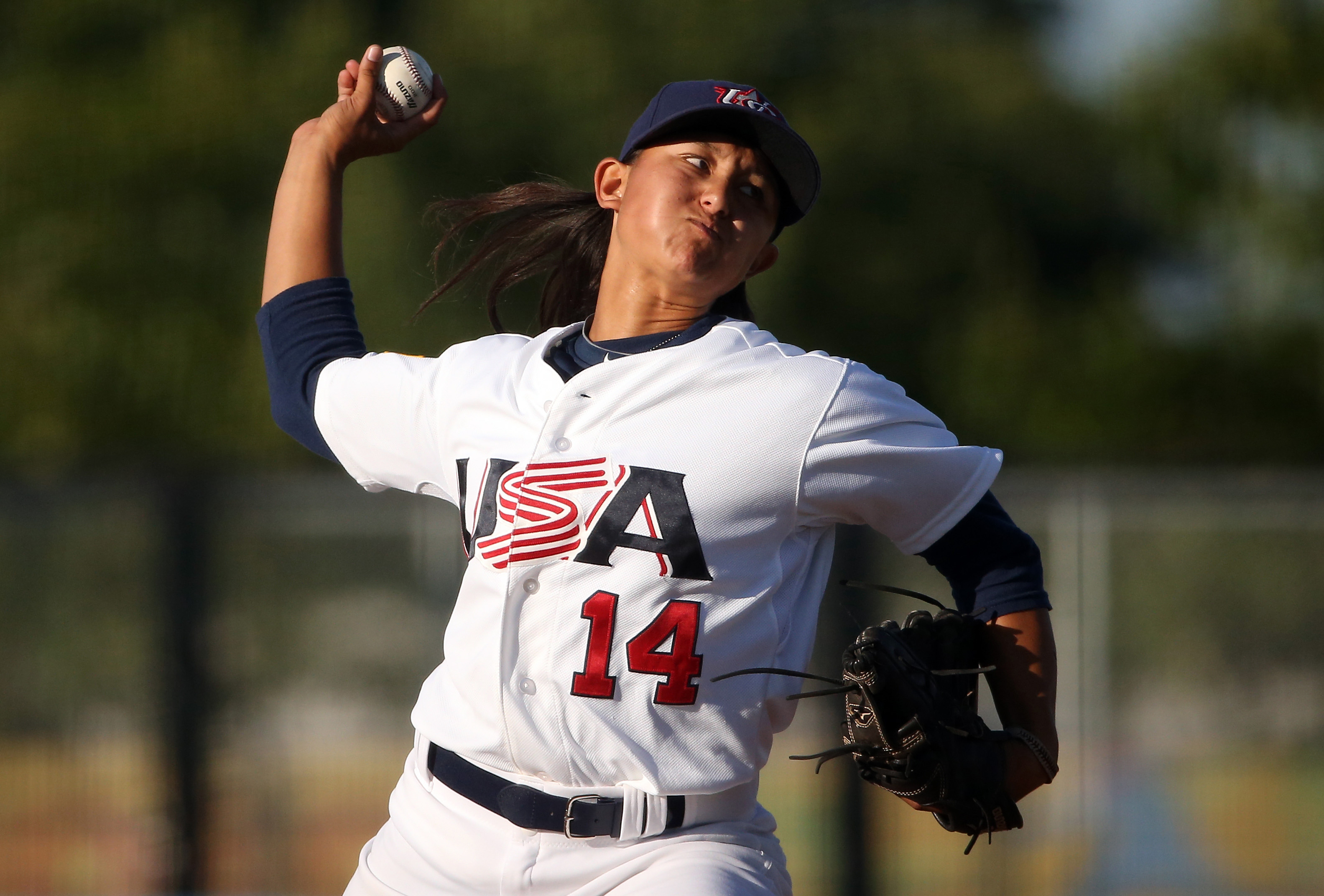 United States starting pitcher Kelsie Whitmore delivers a pitch in the first inning against Cuba in Toronto, Ontario, Canada, on Jul 22, 2015
