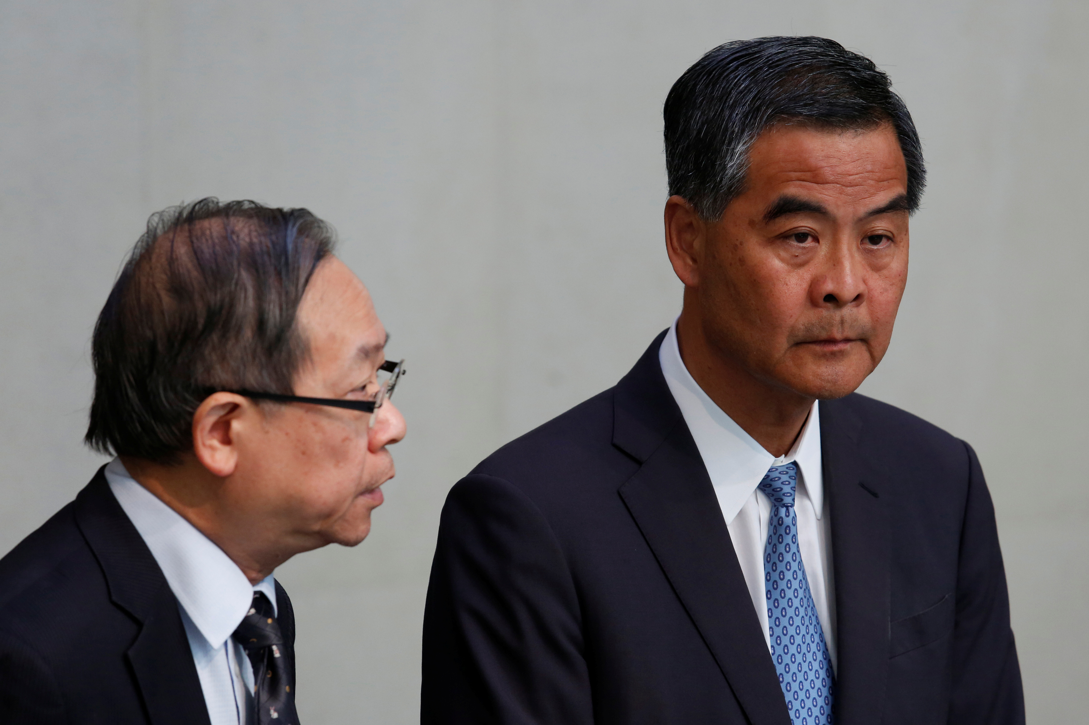 Hong Kong Chief Executive Leung Chun-ying, right, and Secretary for Security Lai Tung-kwok hold a news conference in Hong Kong on June 20, 2016