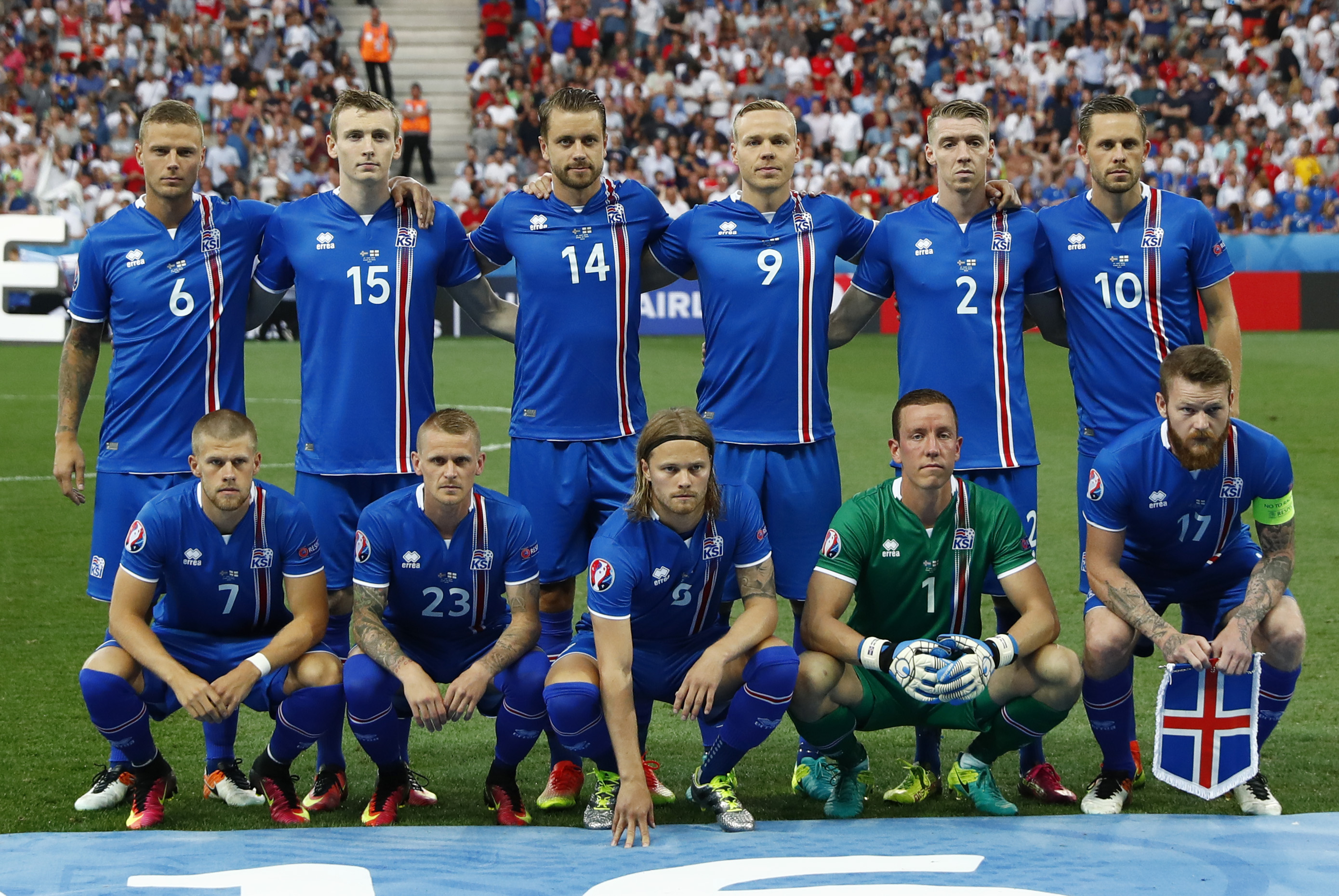 The Iceland soccer team poses before its match against England in the Euro 2016 tournament on June 27, 2016 at the Stade de Nice, in Nice, France